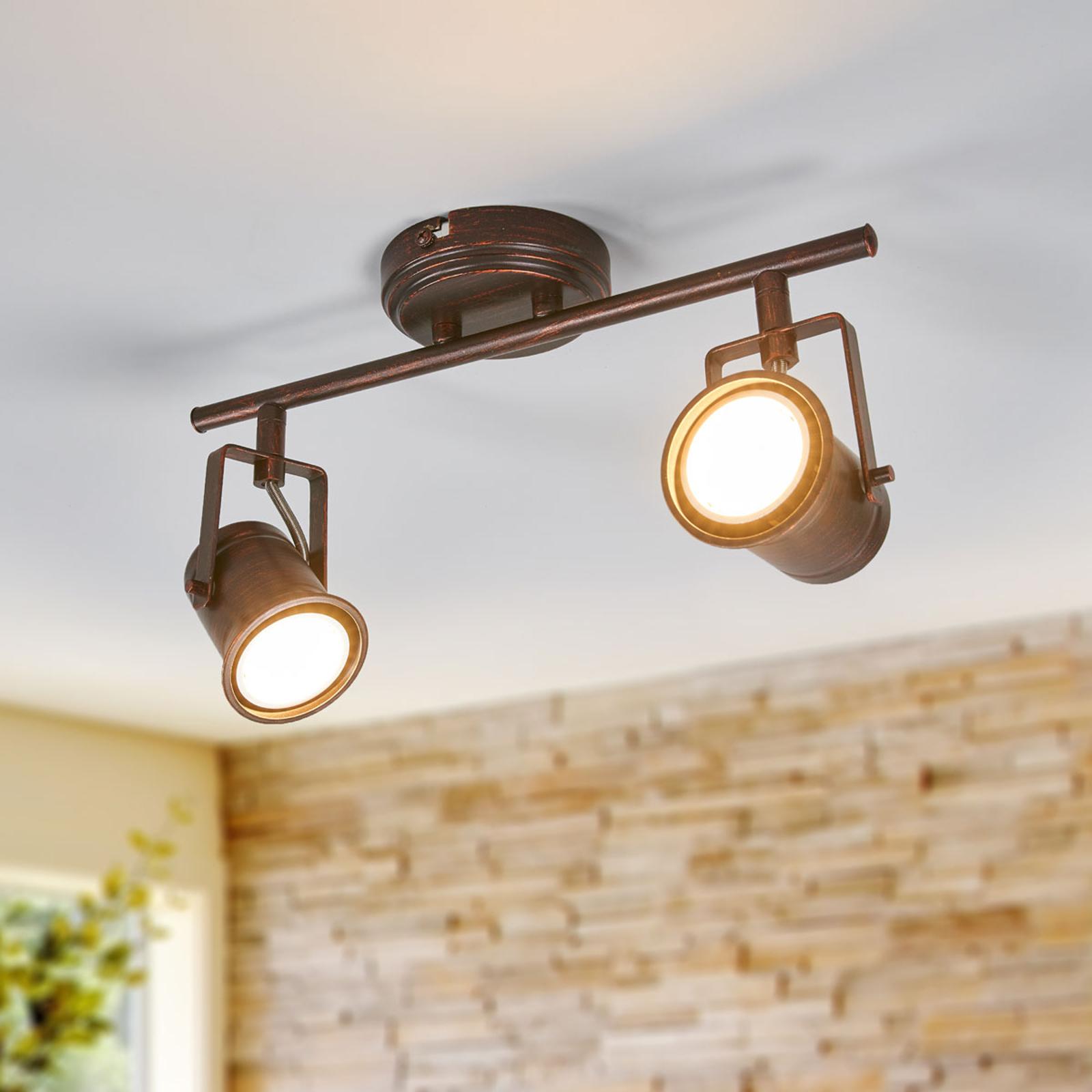 Lámpara LED de techo Cansu 2 bomb., marrón-dorado