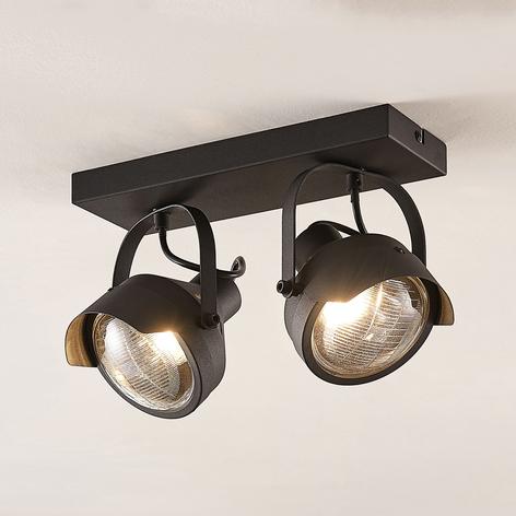 Spot pour plafond Henega, noir, 2lampes