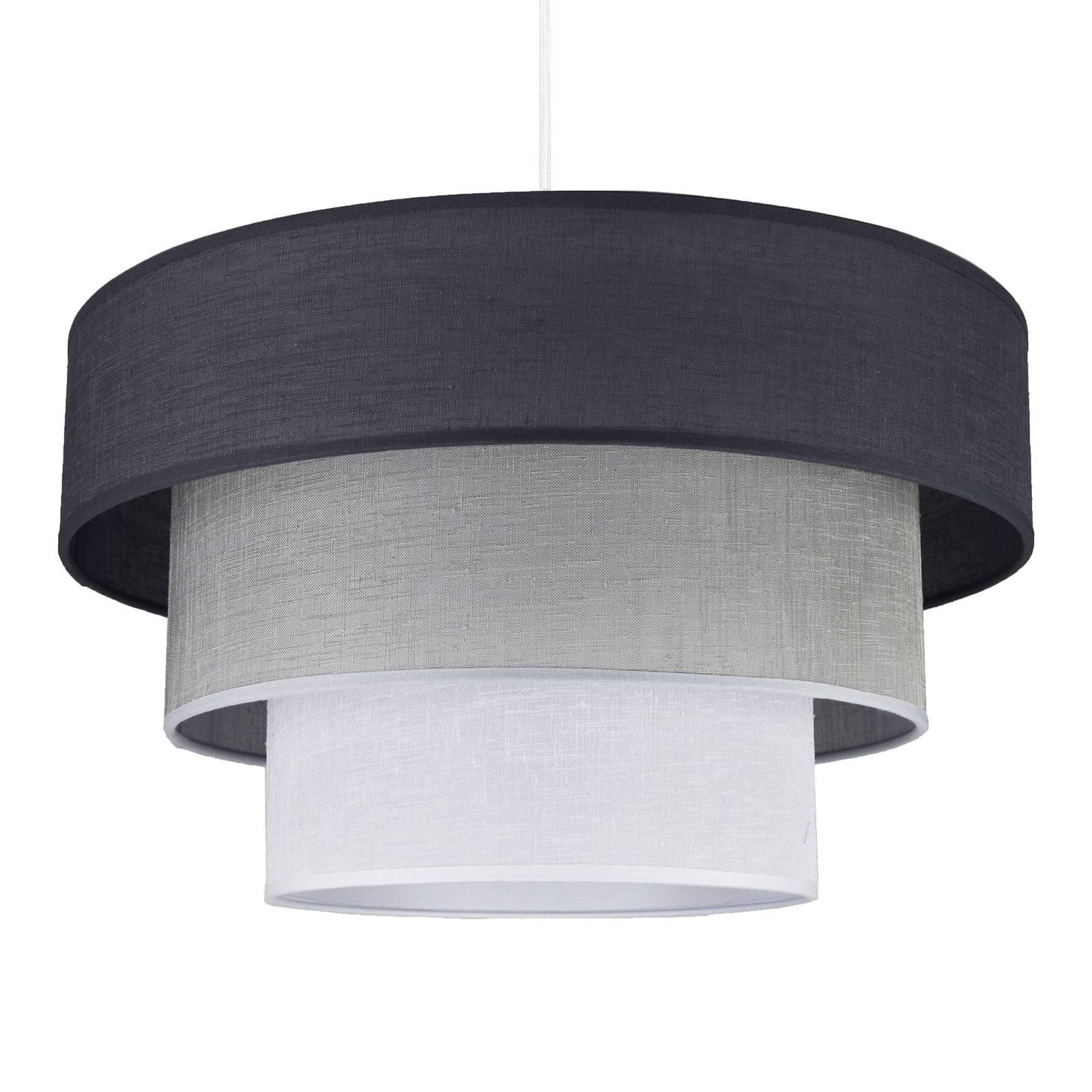 Textiel-hanglamp Luneta, grafiet/grijs/wit