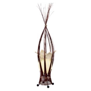 Lámpara de mesa Elena con pantalla de tela, crema