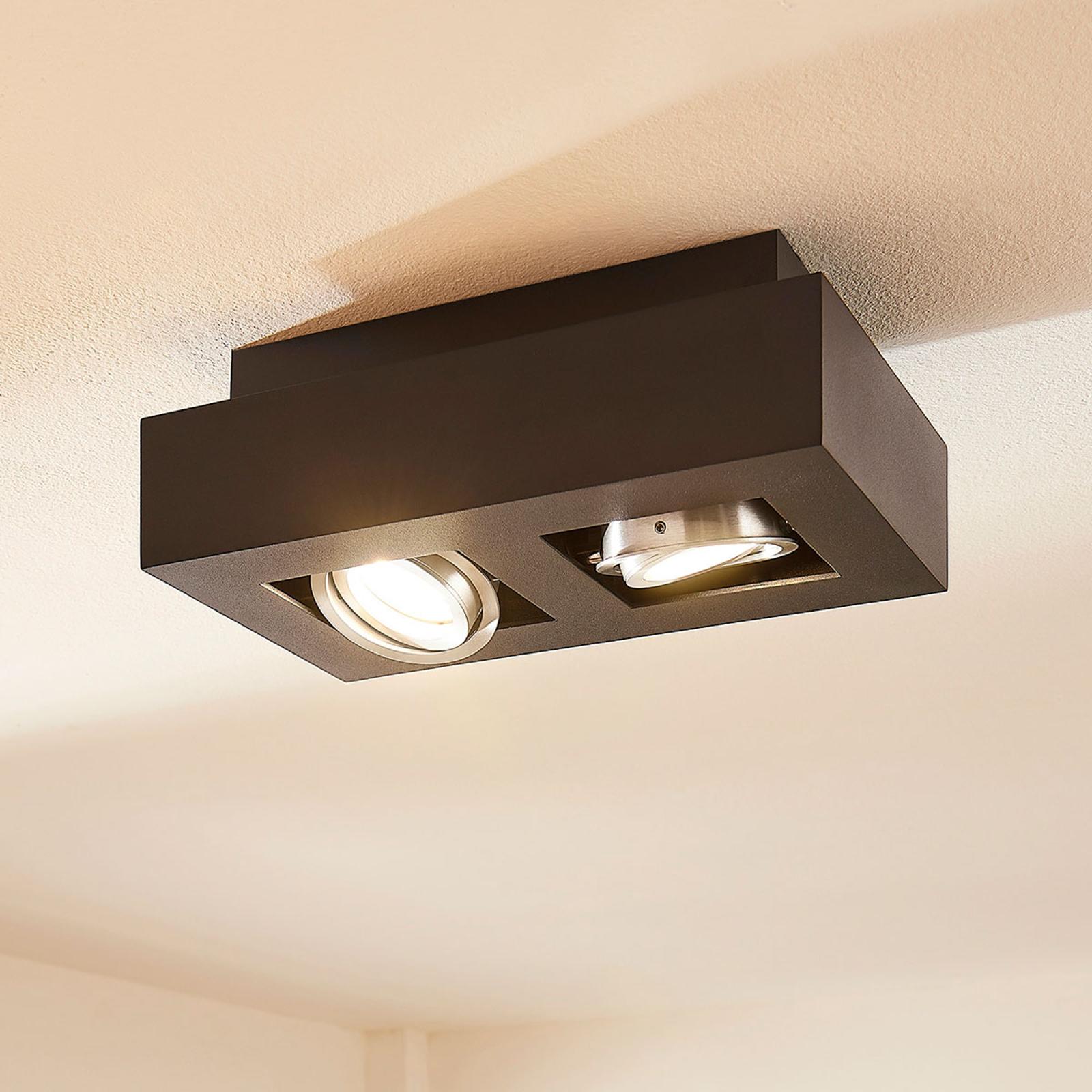 Plafonnier LED Vince, 25x14cm en noir
