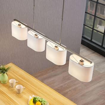 Textiel hanglamp Tomira, met vier lampjes, wit