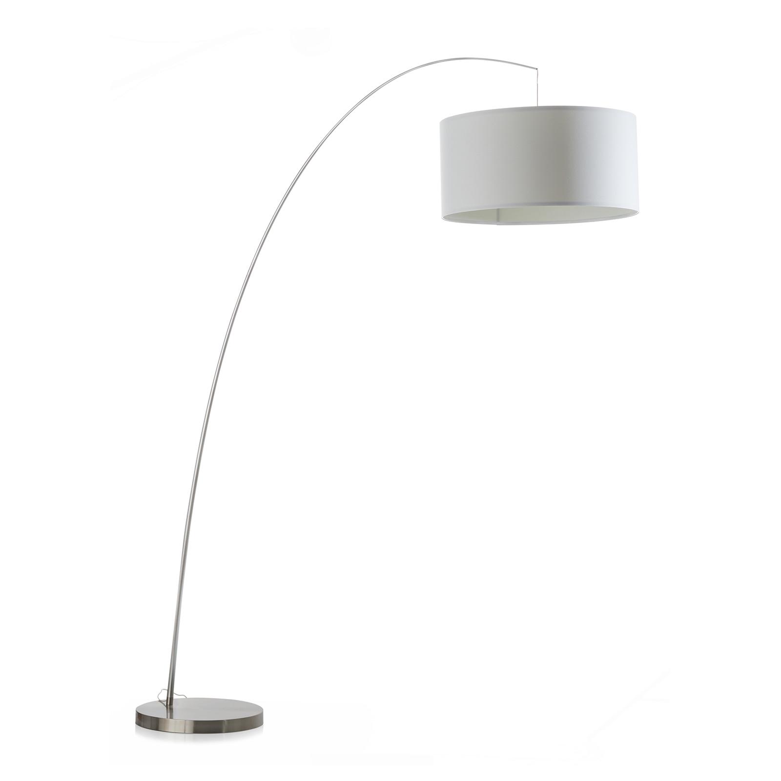Łukowa lampa stojąca Fisher, biała/aluminiowa