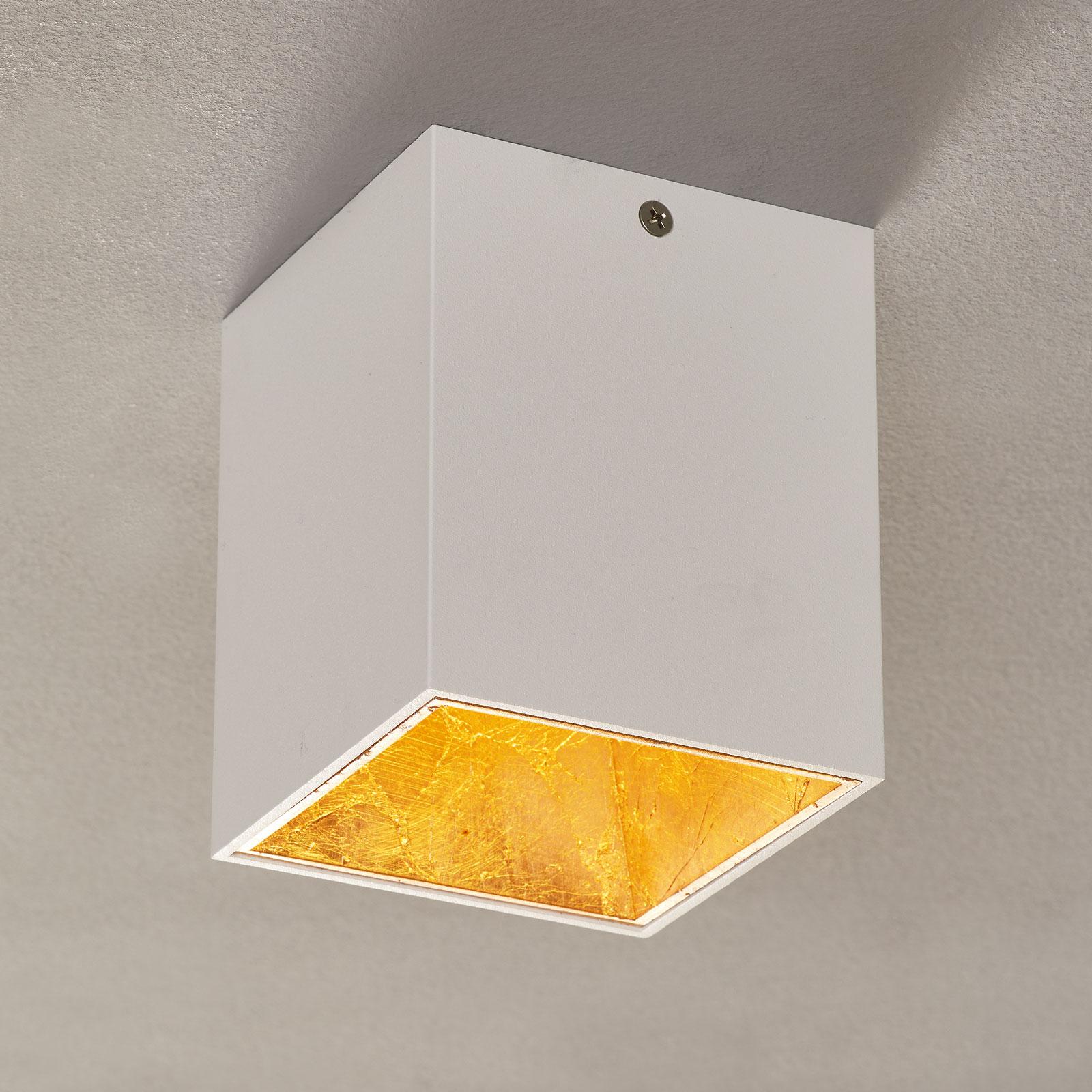 LED-taklampe Polasso kantet, hvit-gull