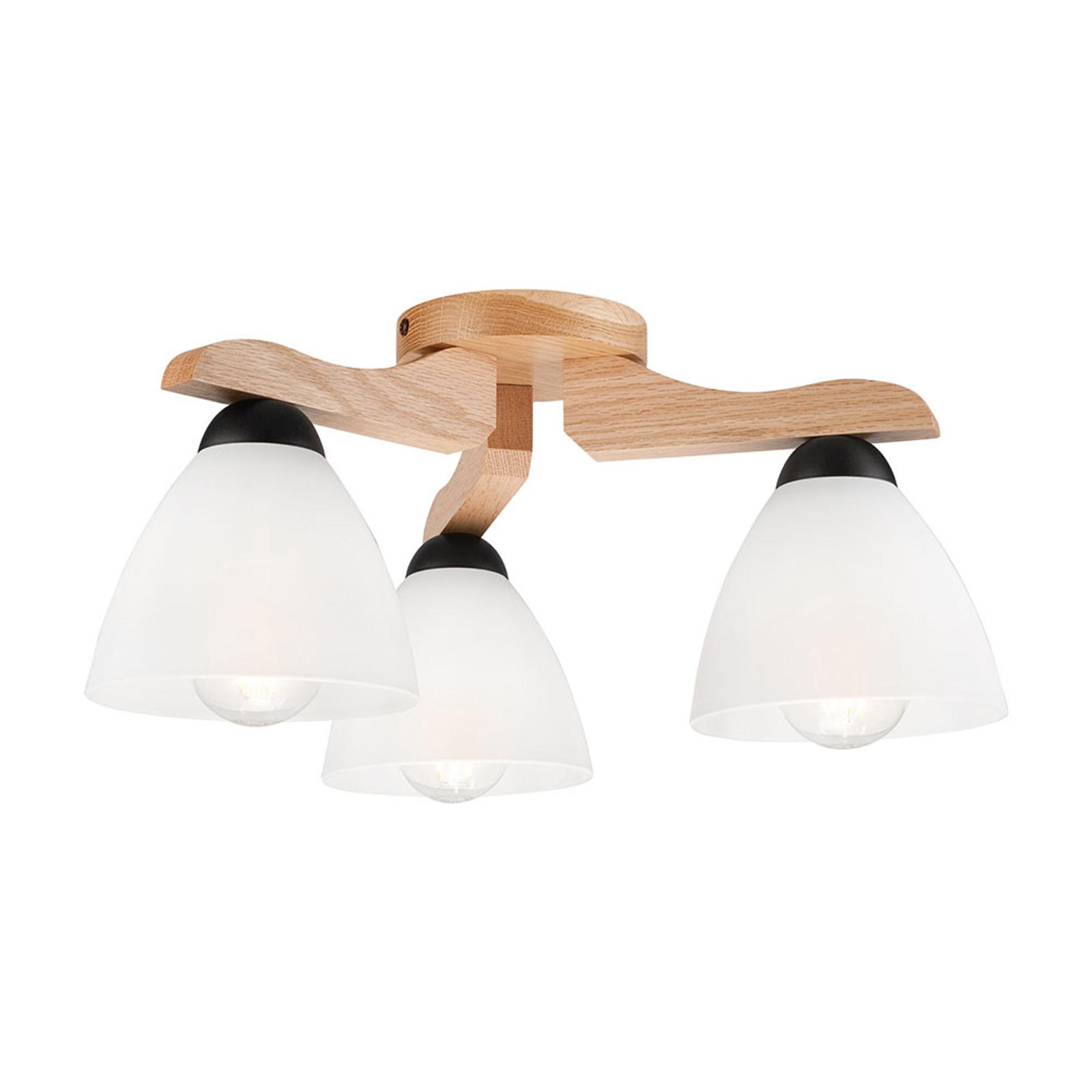 Haro taklampe, eik/hvit, 3 lyskilder