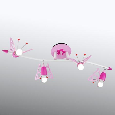 Plafoniera Farfalla per bambini, 4 faretti