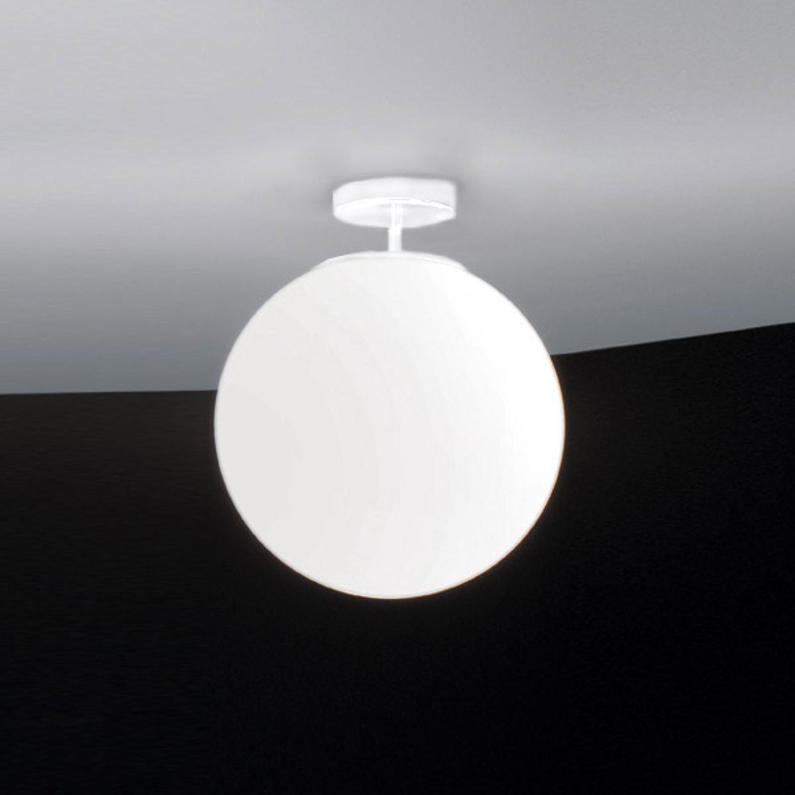 Sferis loftlampe i glas, 30 cm, hvid
