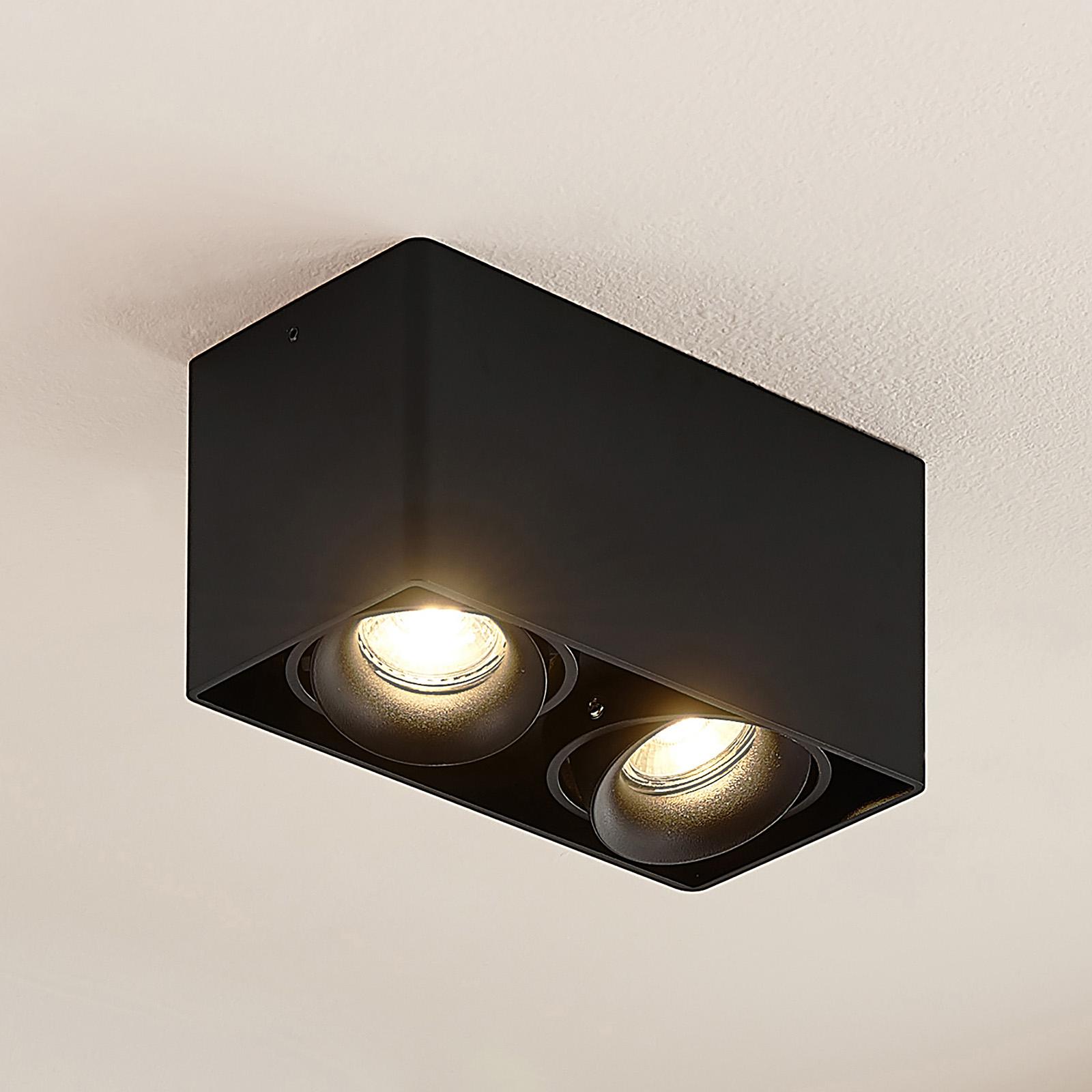 Arcchio Kubika downlight GU10, 2 luces, negro