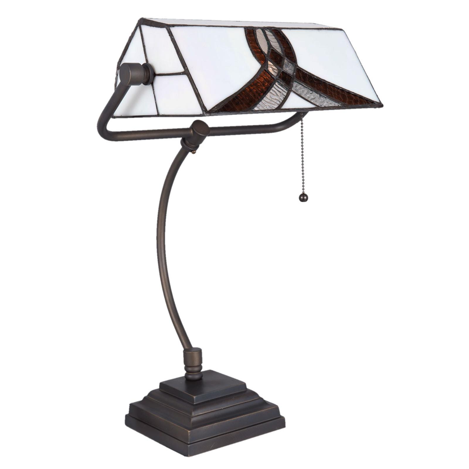 Schreibtischlampe 5195 mit weiß-braunem Glasschirm