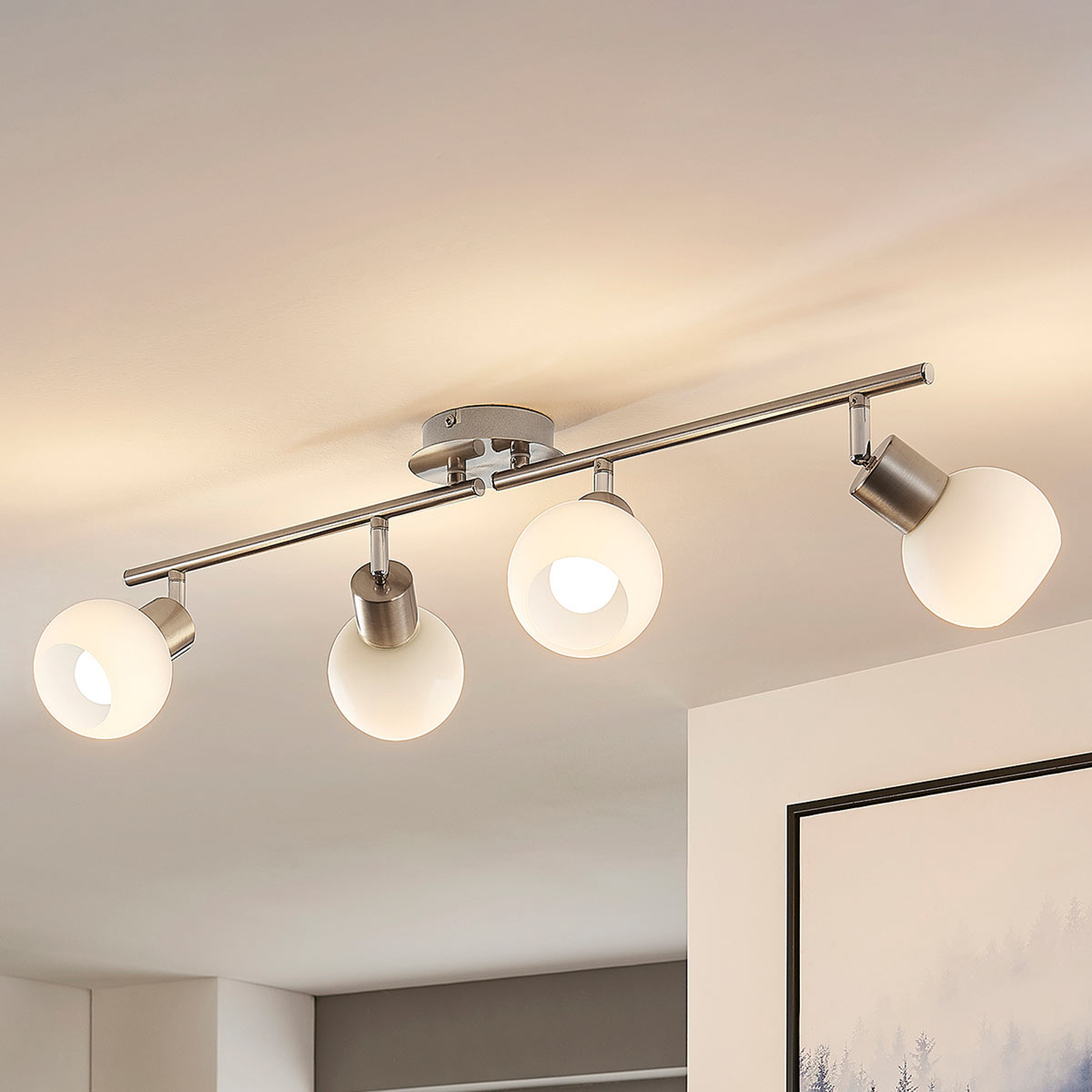 Four Bulb Led Ceiling Light Elaina Nickel Matte Lights Co Uk