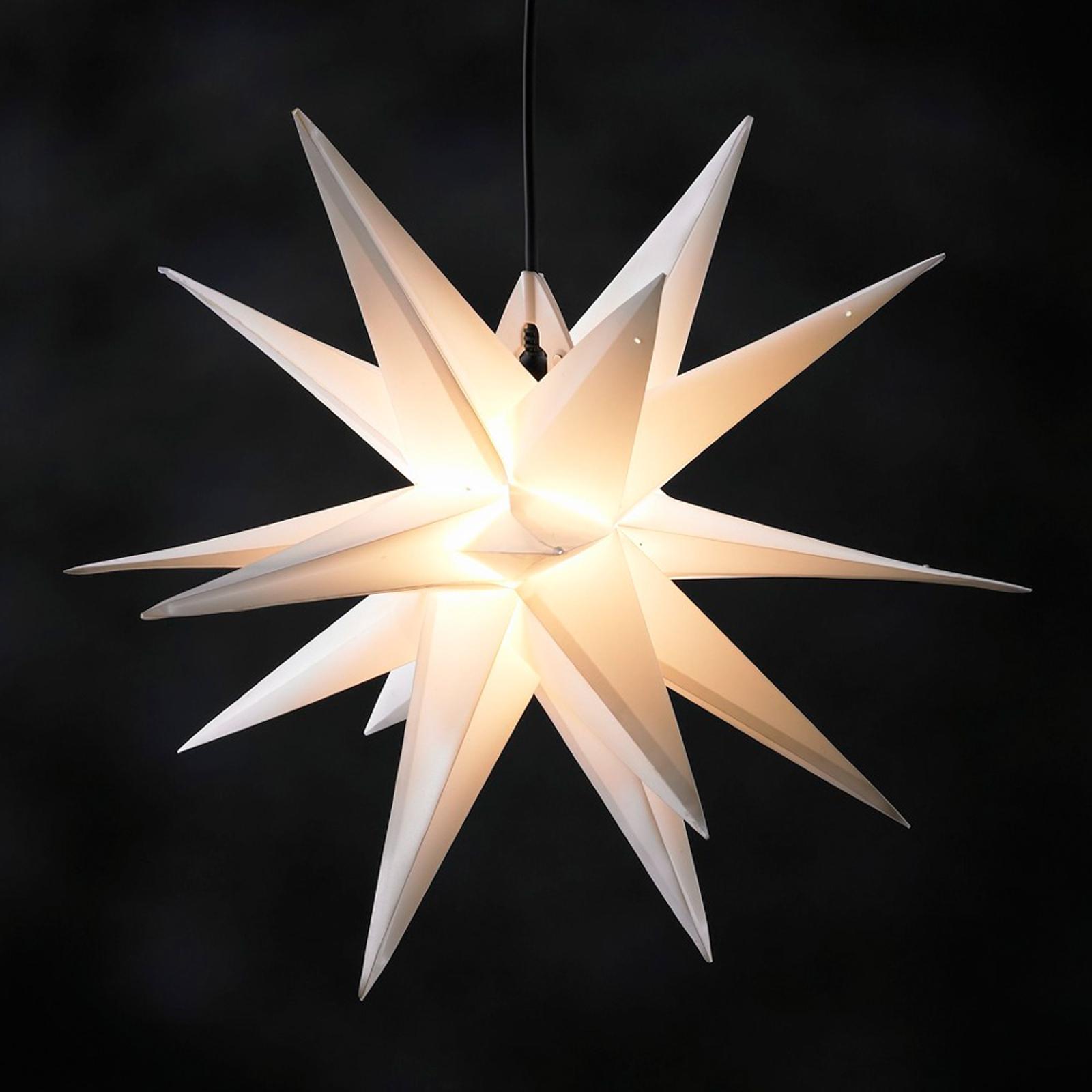 Biała zewn. gwiazda z tworzywa JUMBO, 18-ramienna