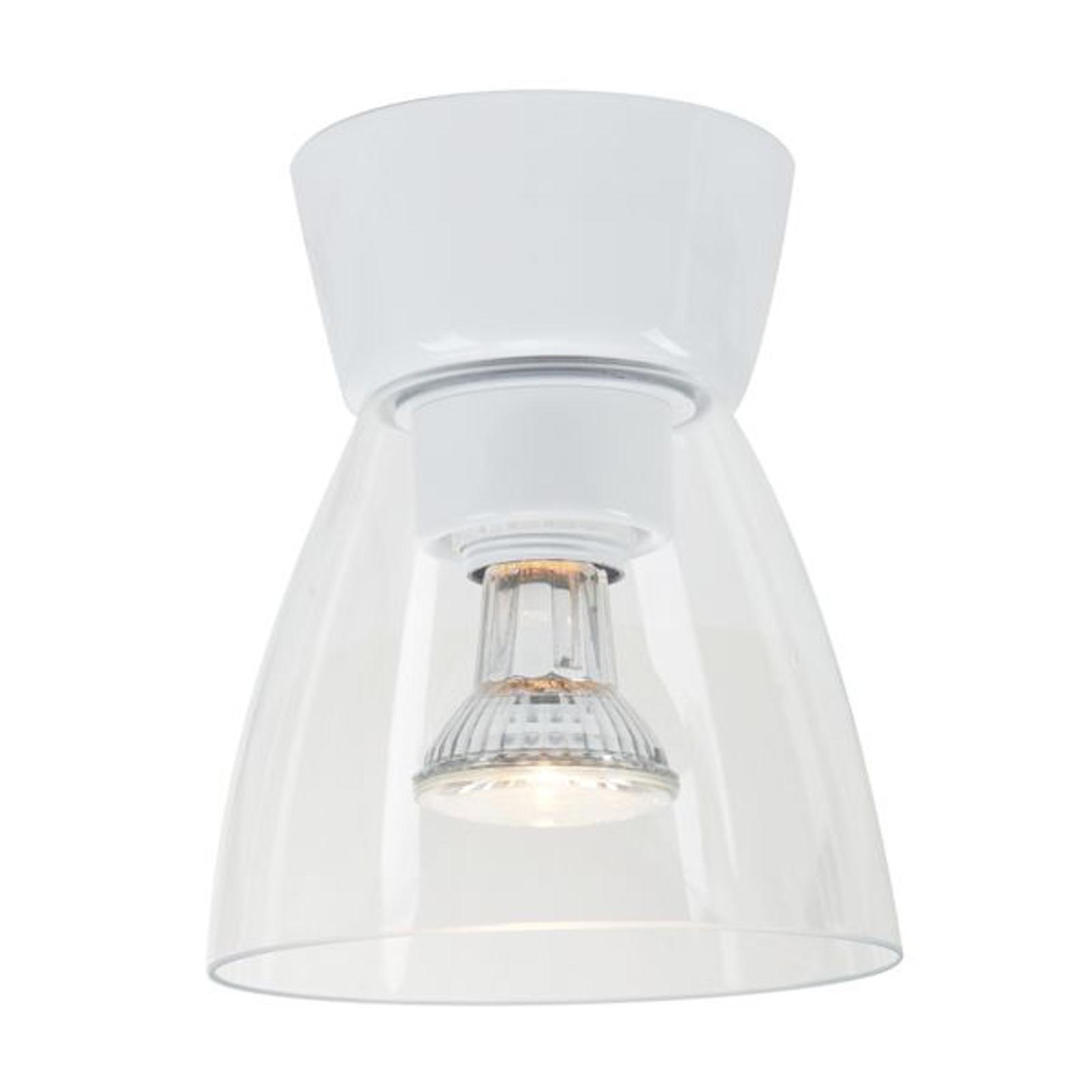 LED-taklampe Bizzo baldakin hvit, klart glass