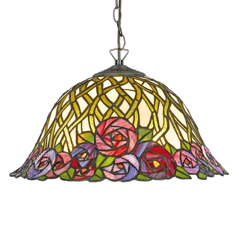 Lampa wisząca Melika w stylu Tiffany, 2-punktowa