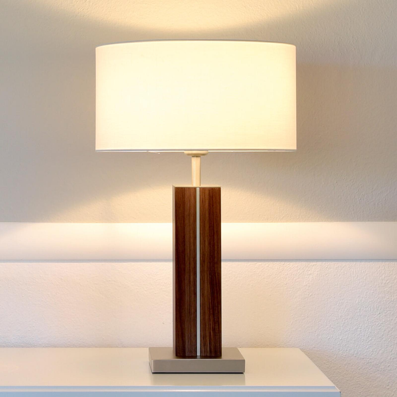 Dana - hoogwaardige tafellamp, massief houten voet