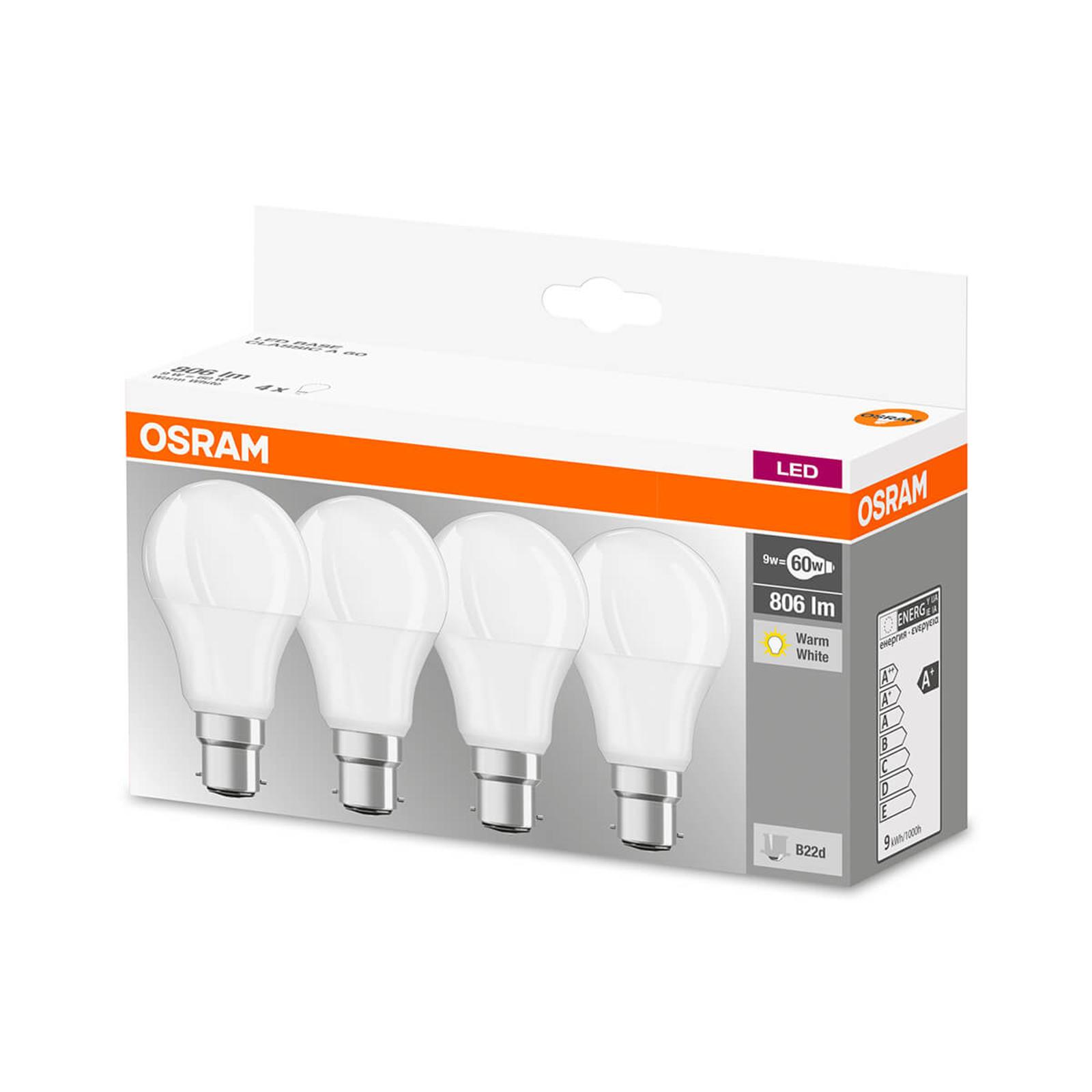 LED-Lampe B22d 9W, warmweiß, 806 Lumen, 4er-Set