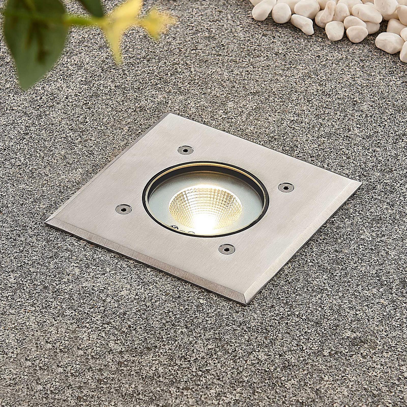 LED-Bodeneinbauleuchte Kari, Edelstahl, eckig
