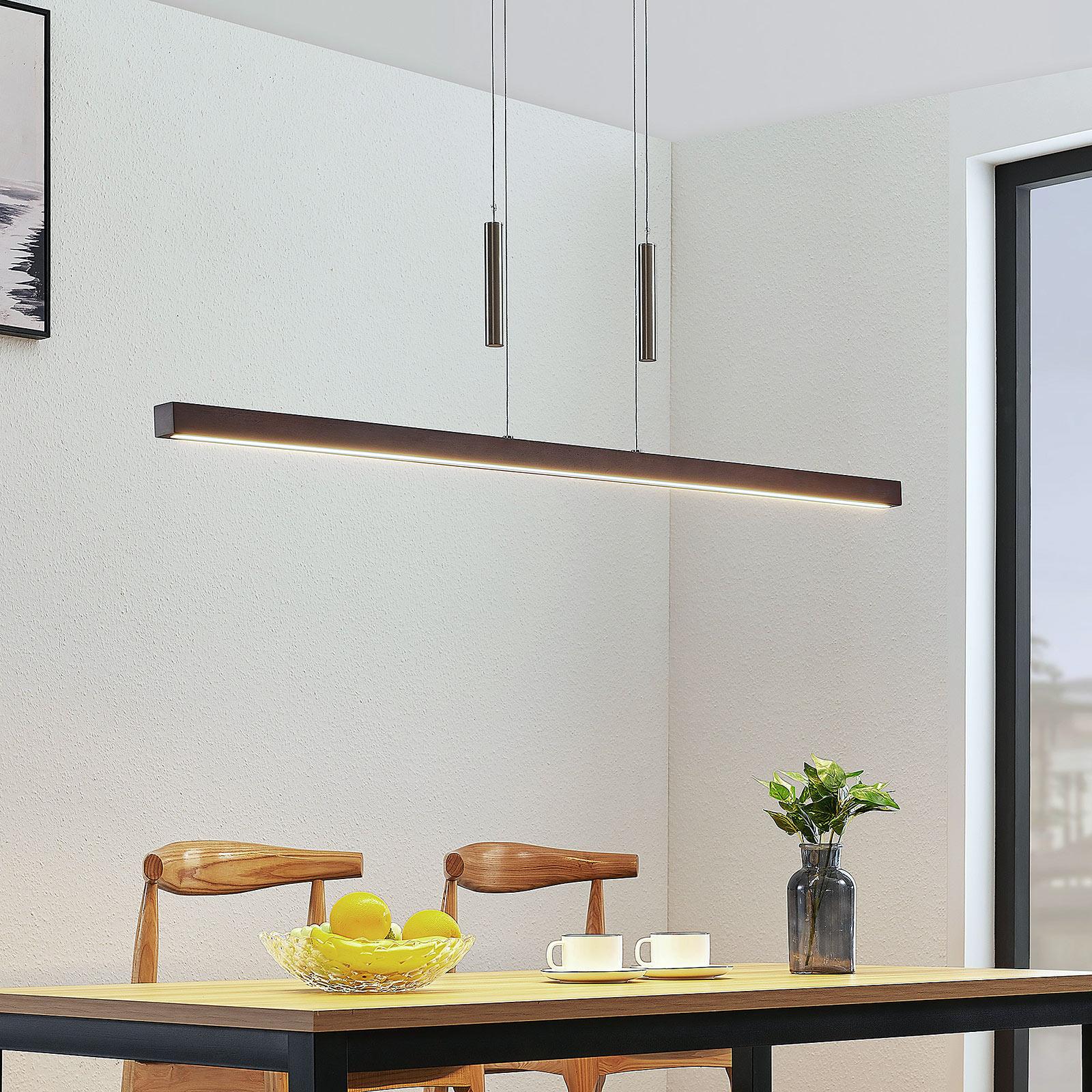 LED houten balk hanglamp Tamlin, donkerbruin