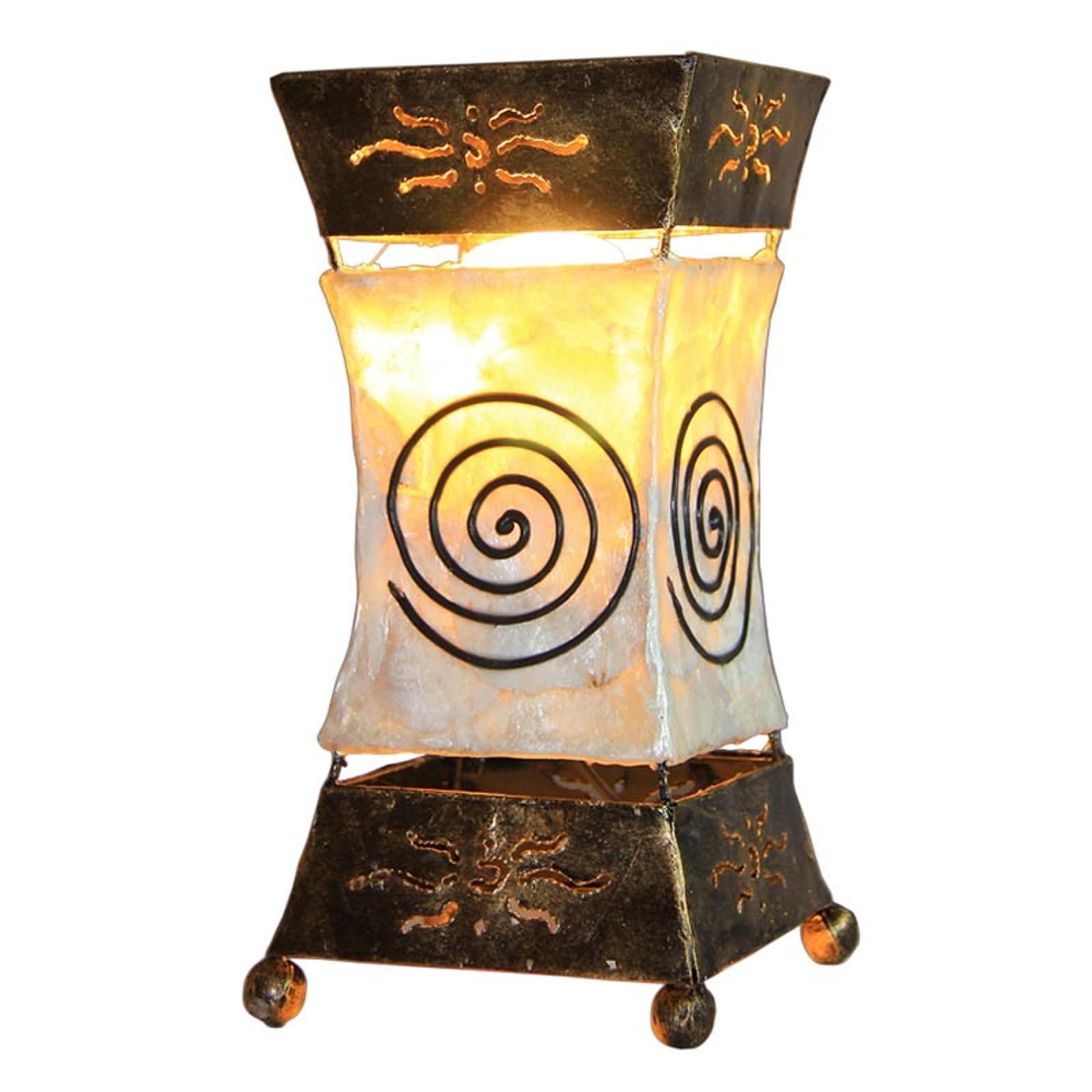 Jasna lampa stołowa Xenia z motywem spiralnym