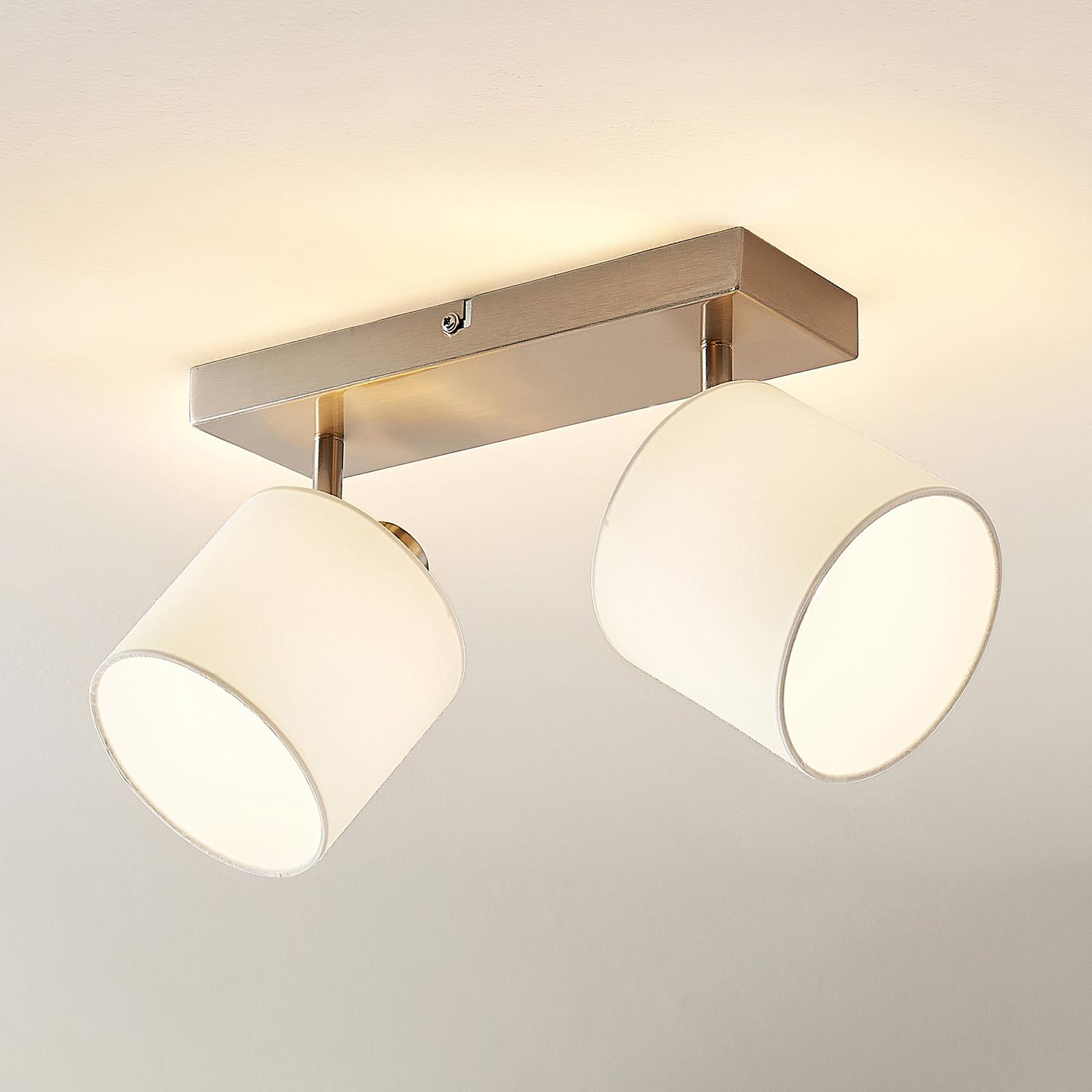 Lindby Stannis spot da soffitto, tessuto, 2 luci