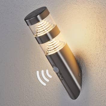 Lanea LED-væglampe i rustfrit stål, skrå, sensor