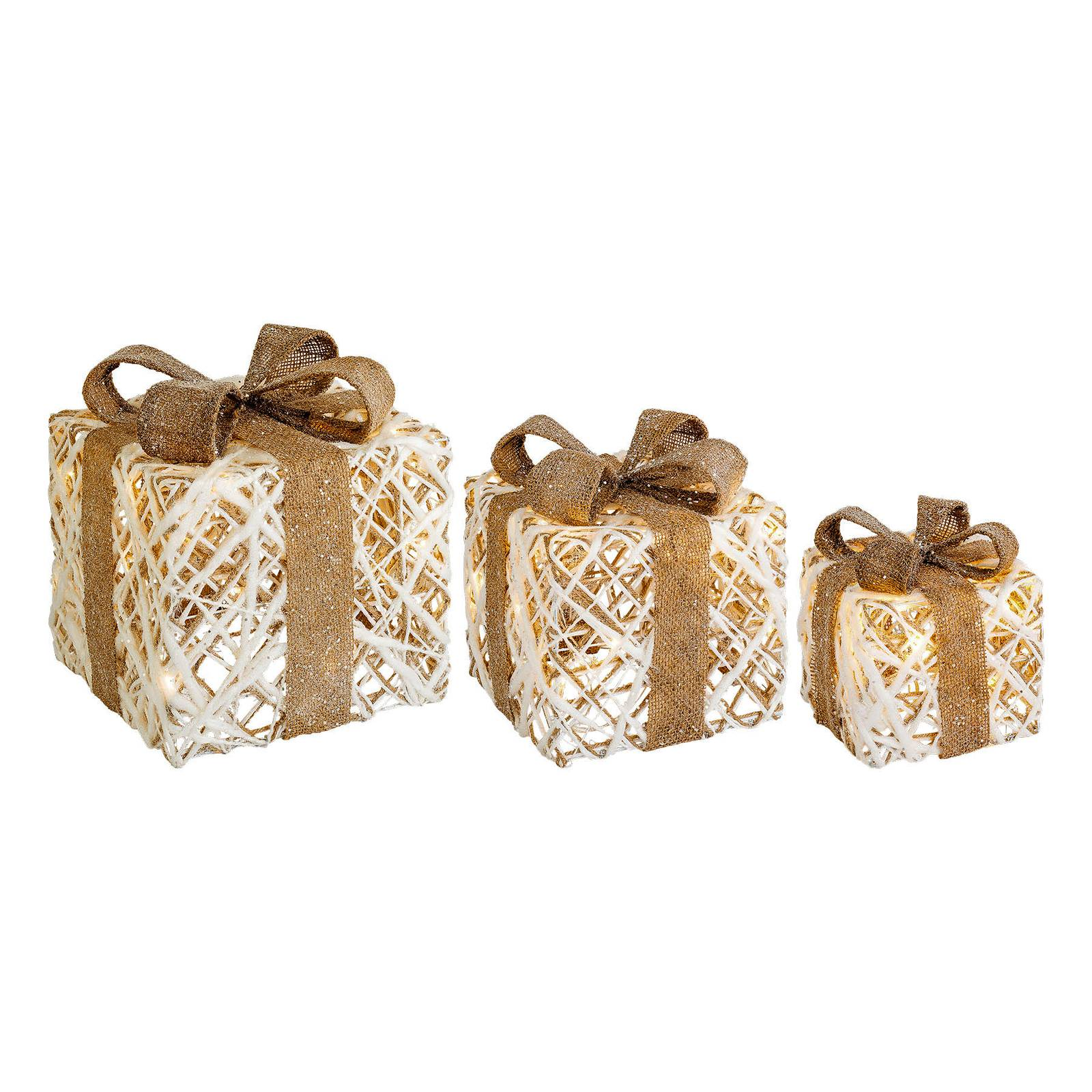Lumineo Objects LED gift box 3-pack natural/brown