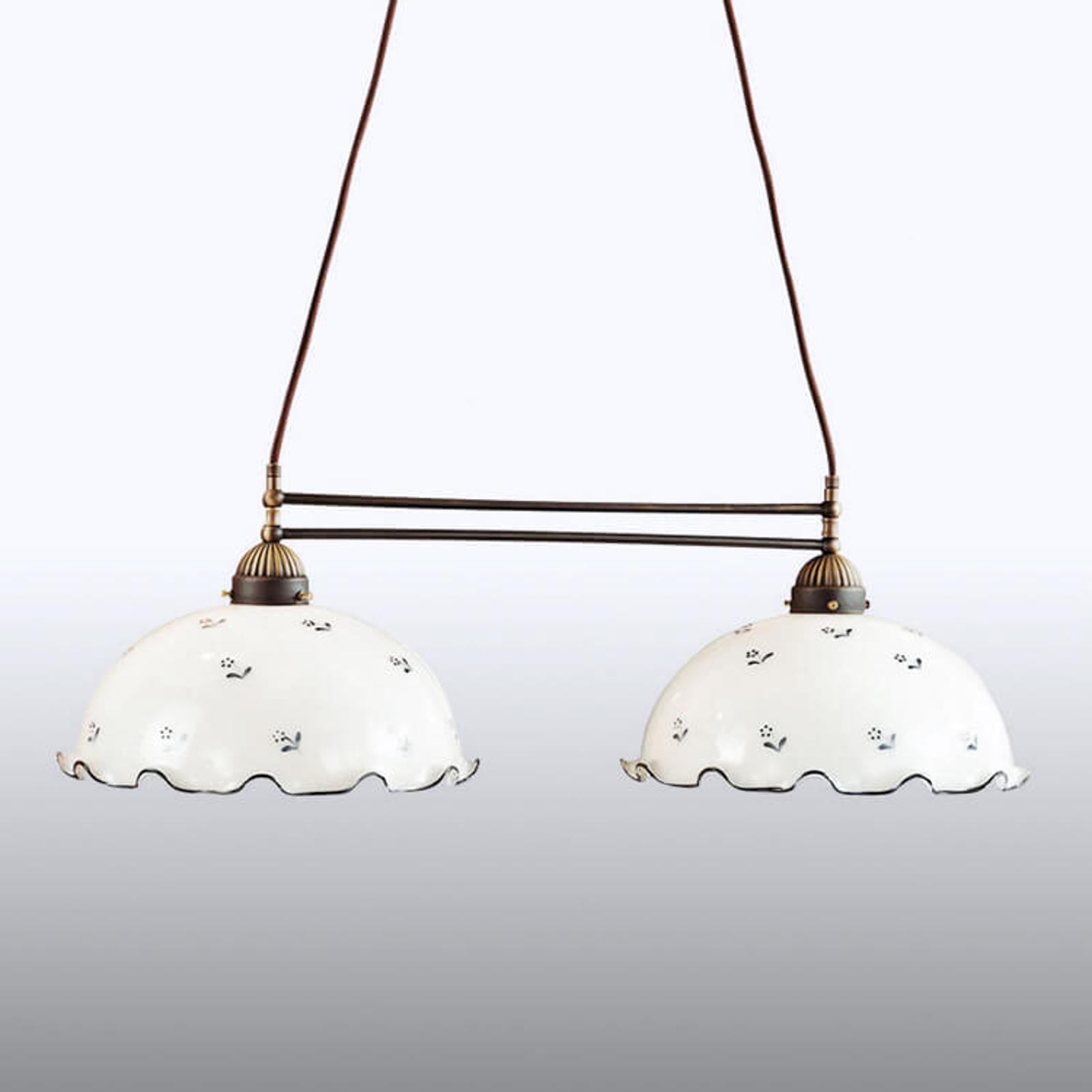 Hanglamp met dwarsstuk Nonna, wit-blauw