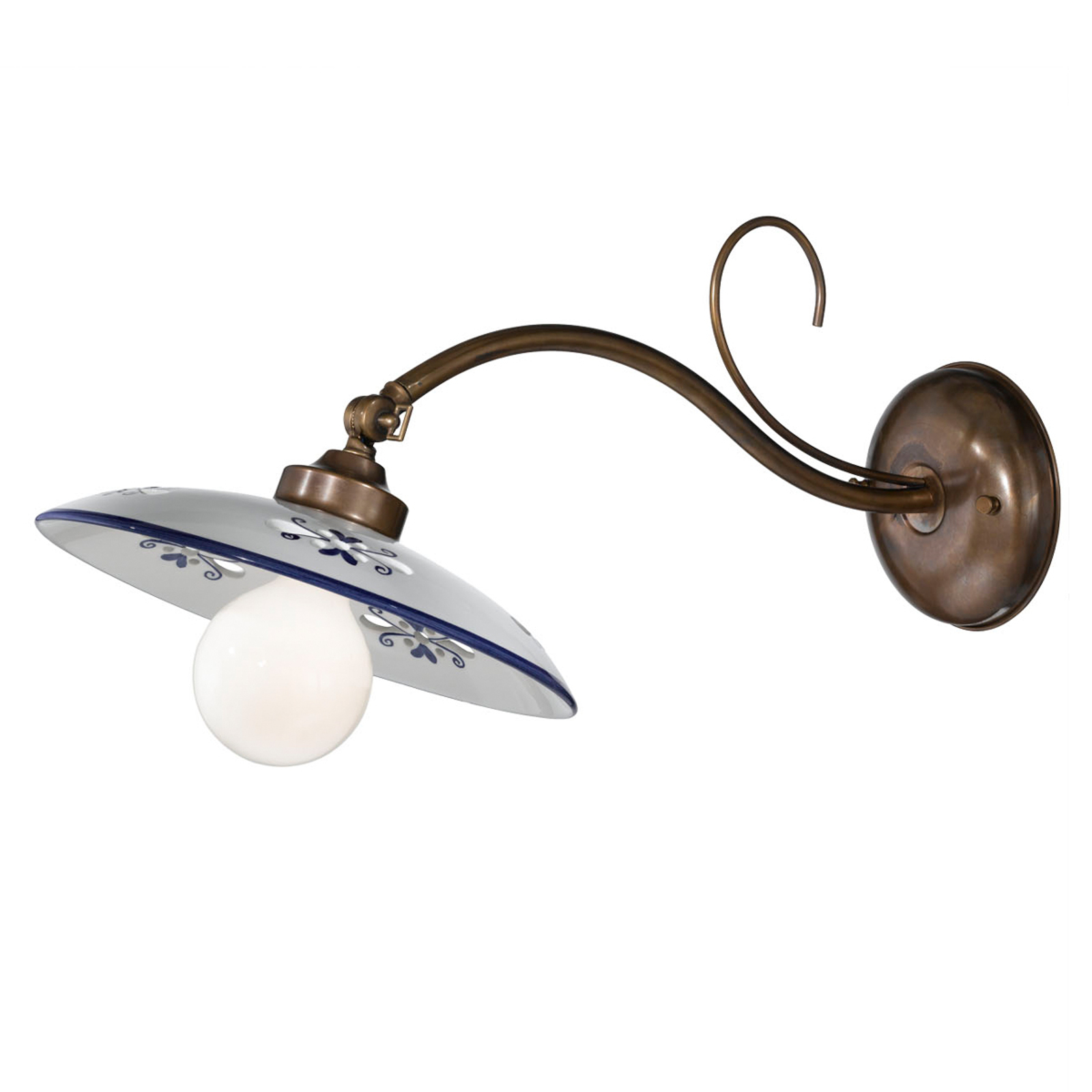 Wandlampe Bassano, Keramikschirm, ausladend, blau