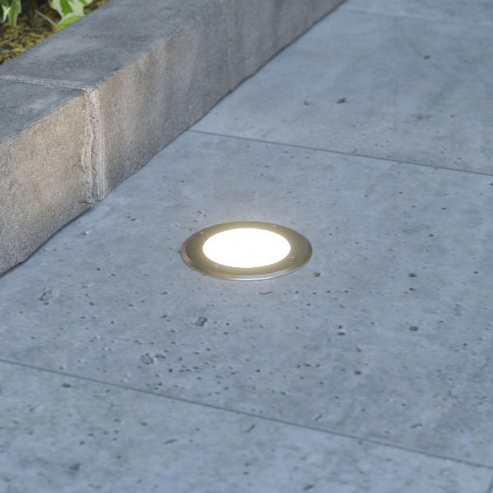 Lampada LED rotonda da interrare Doris, acciaio