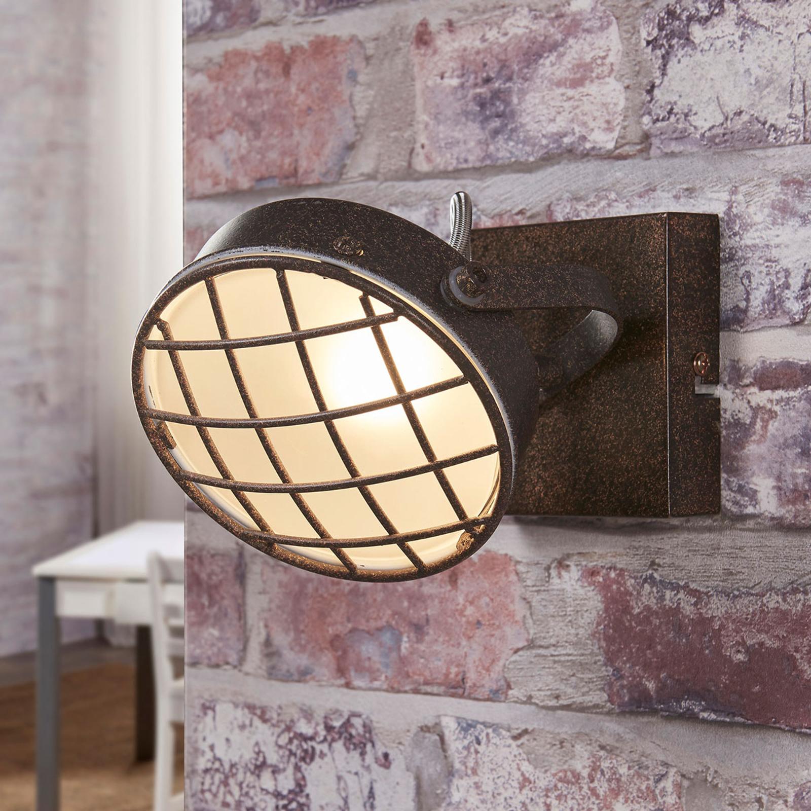 Roestkleurige LED wandlamp Tamin, industrieel
