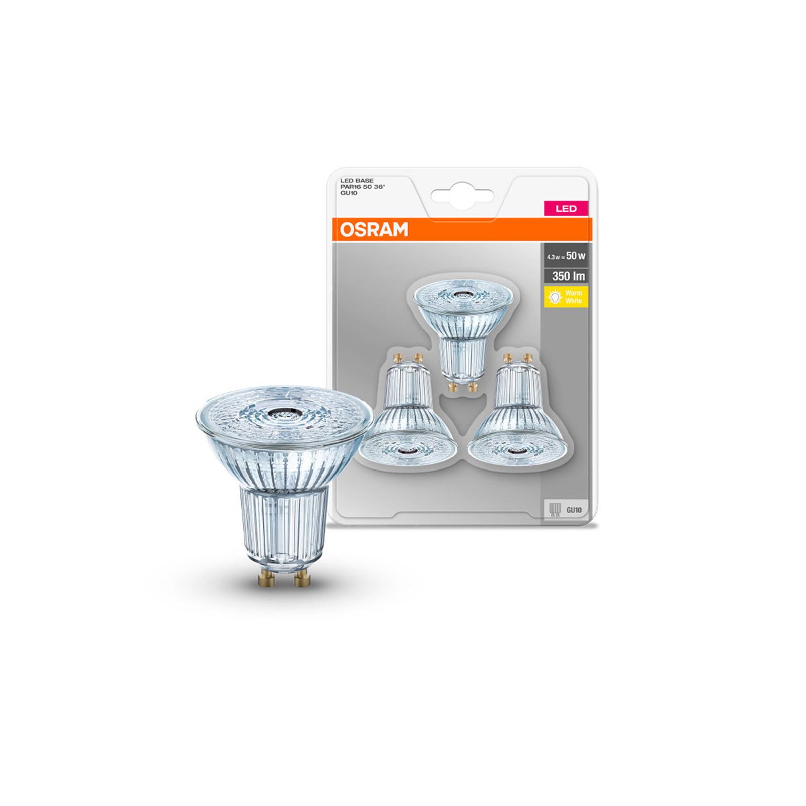 OSRAM LED-Reflektor GU10 4,3W 2.700K 350lm 36° 3er