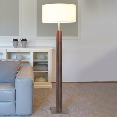 Lámpara de pie Dana, madera de nogal, tela blanca