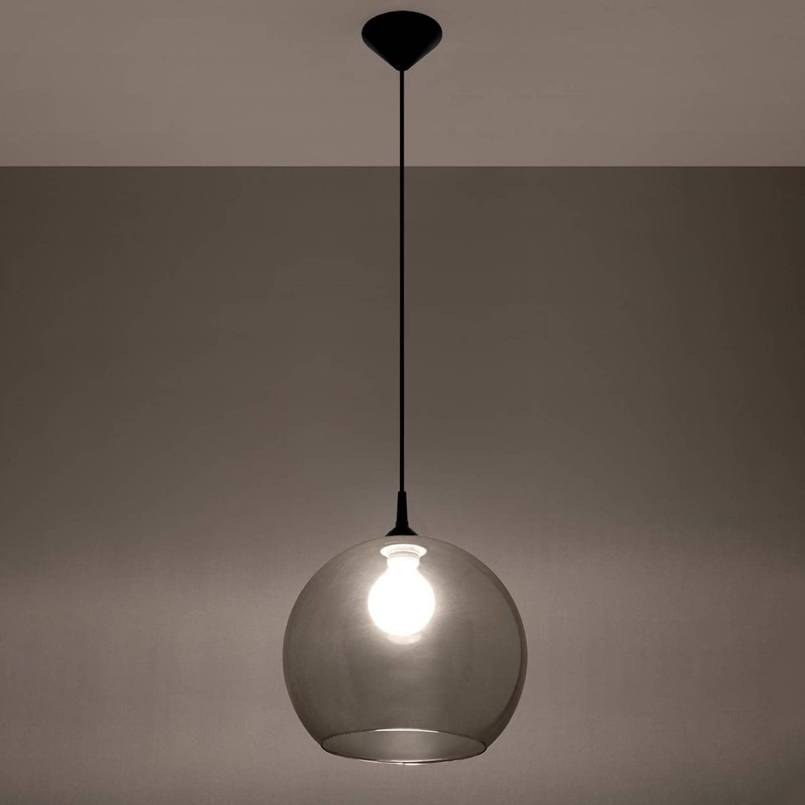 Lampa wisząca Colour szklany klosz szary grafitowy