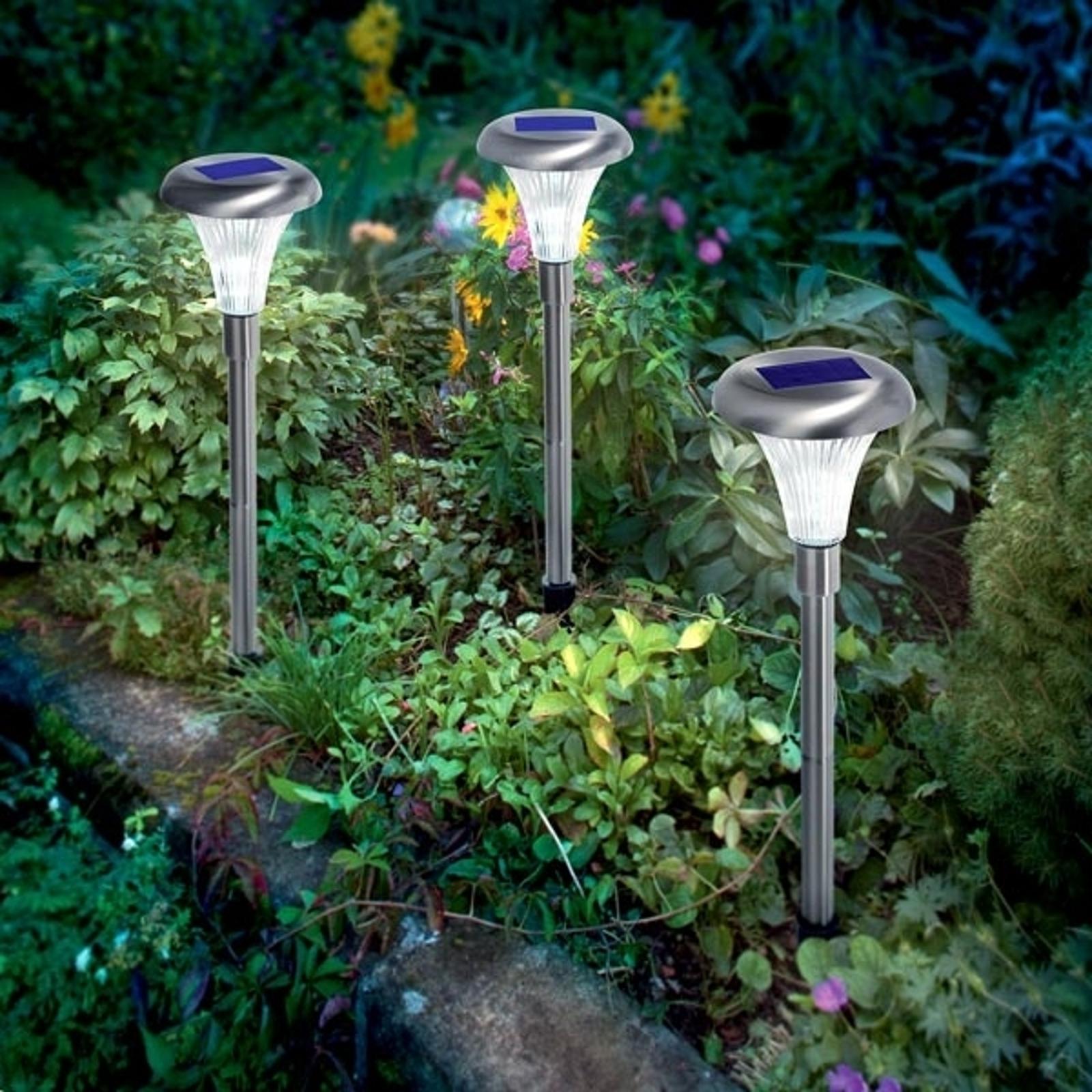 Capri solcellelampe i rustfrit stål i sæt á 3