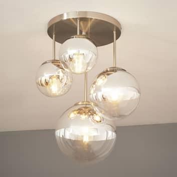 Plafoniera Ravena con sfere di vetro, a 4 luci