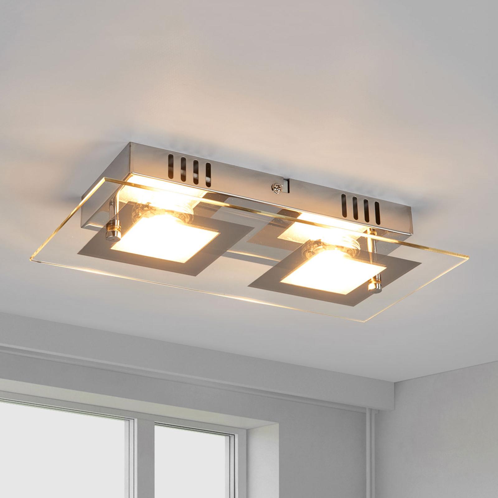 Manja - dwupunktowa, chromowa lampa sufitowa LED