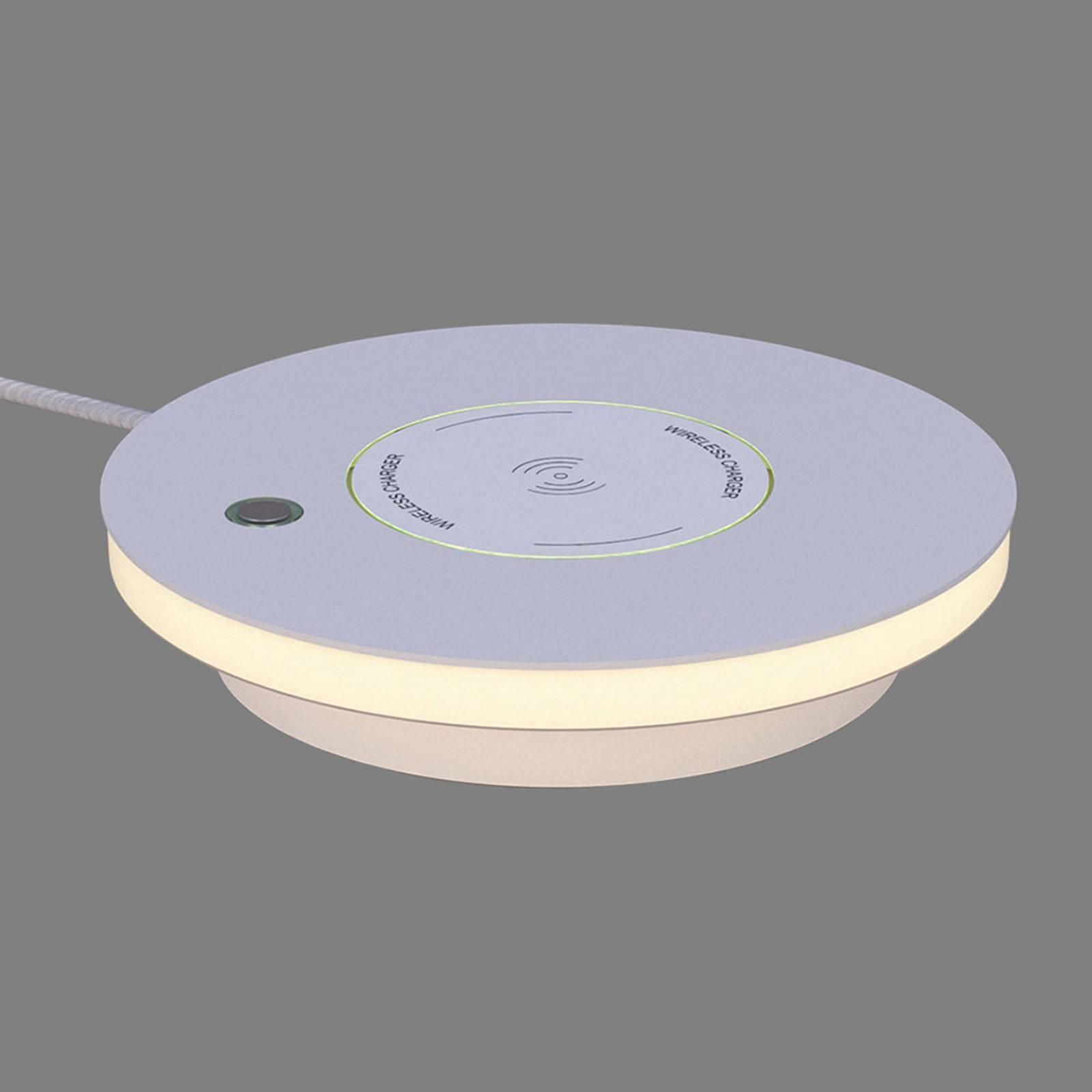 LED-Tischleuchte Ekil, QI-Ladestation, weiß