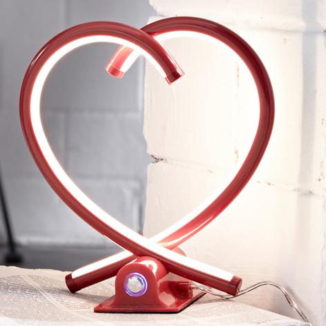 LED stolní lampa ve tvaru srdce Valentin v červené