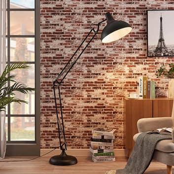 Zwarte vloerlamp Giulie, beweegbaar montuur