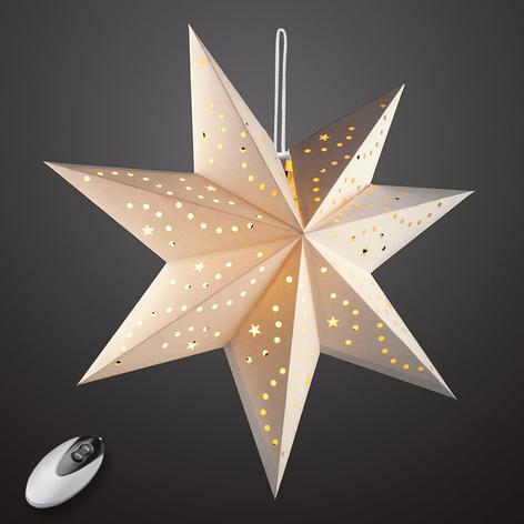 Kremfarget LED-papirstjerne Hilla