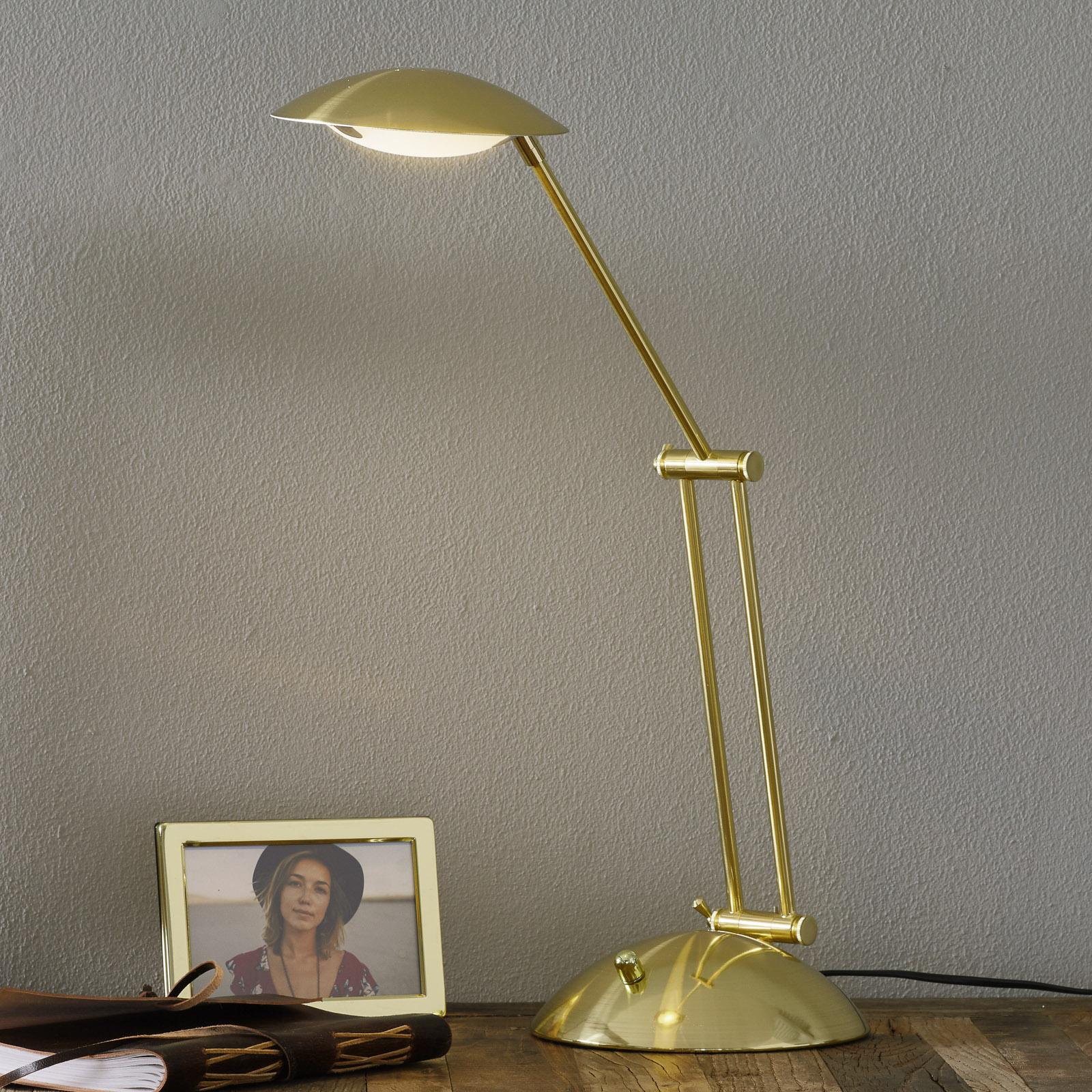 Säädettävä LED-pöytälamppu Calcio matta messinki