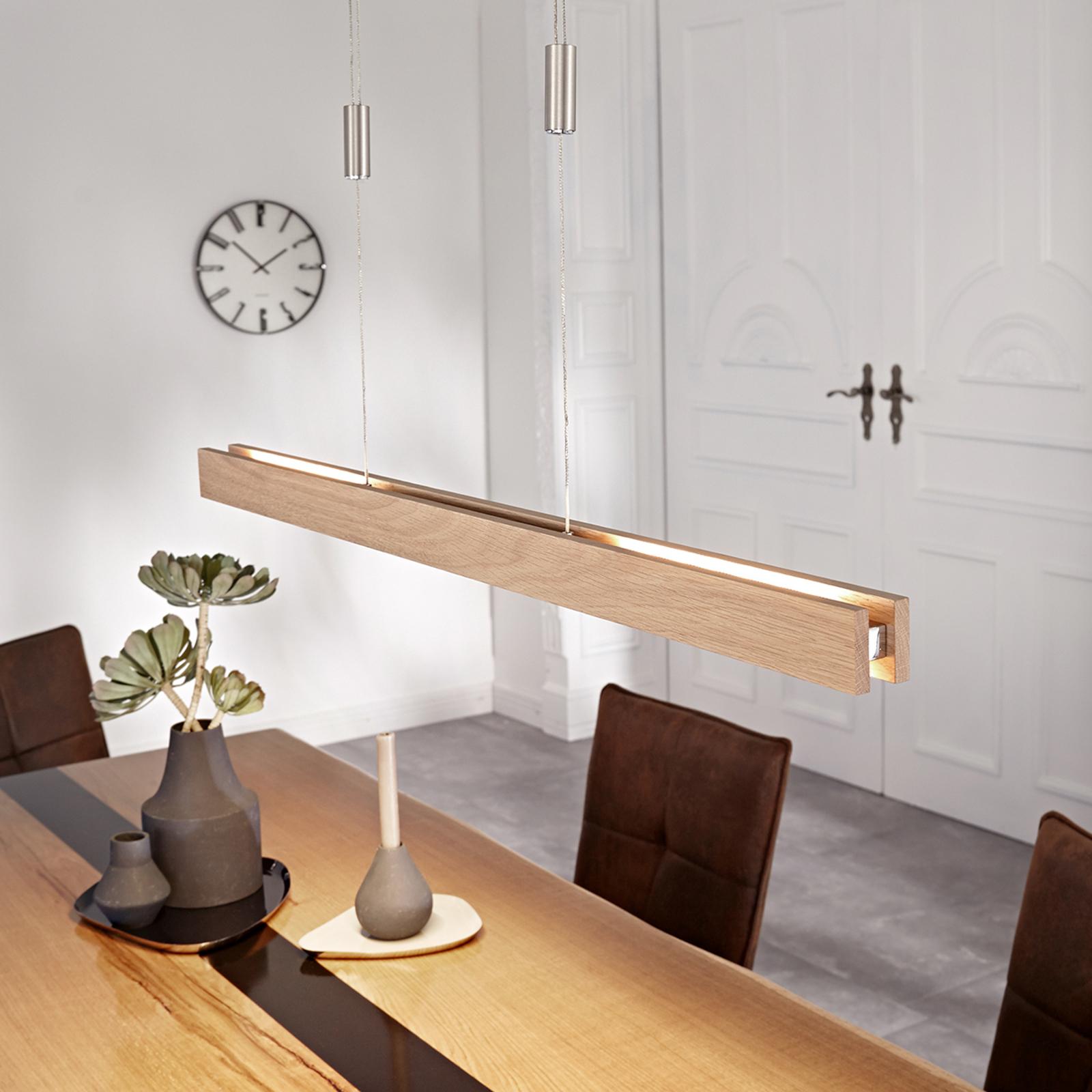 Holz-LED-Hängeleuchte Alin, eiche natur, 98 cm