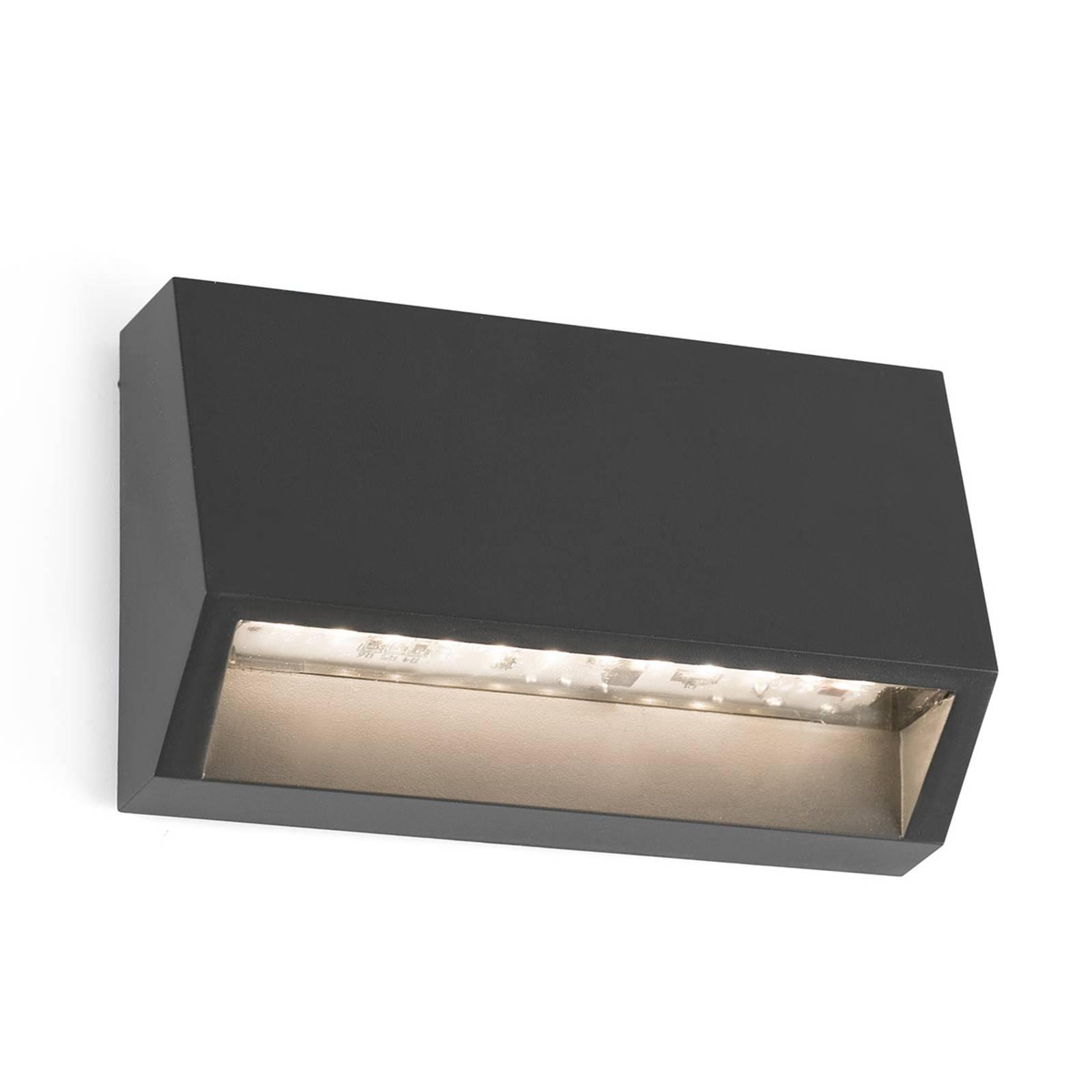 Hoekige LED buitenwandlamp Must - 9,6 cm