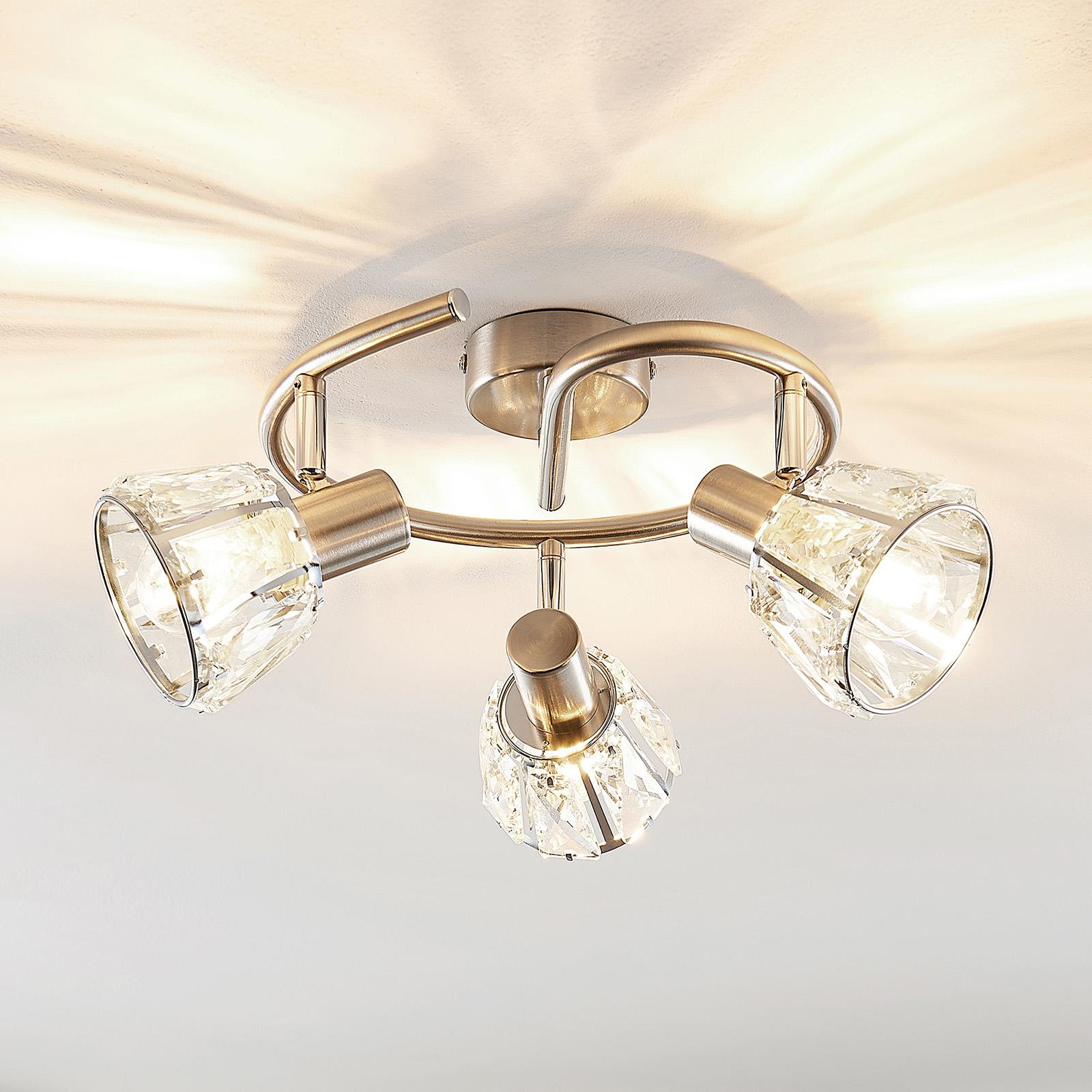 Lindby Kosta lampa sufitowa, 3-punktowa, nikiel