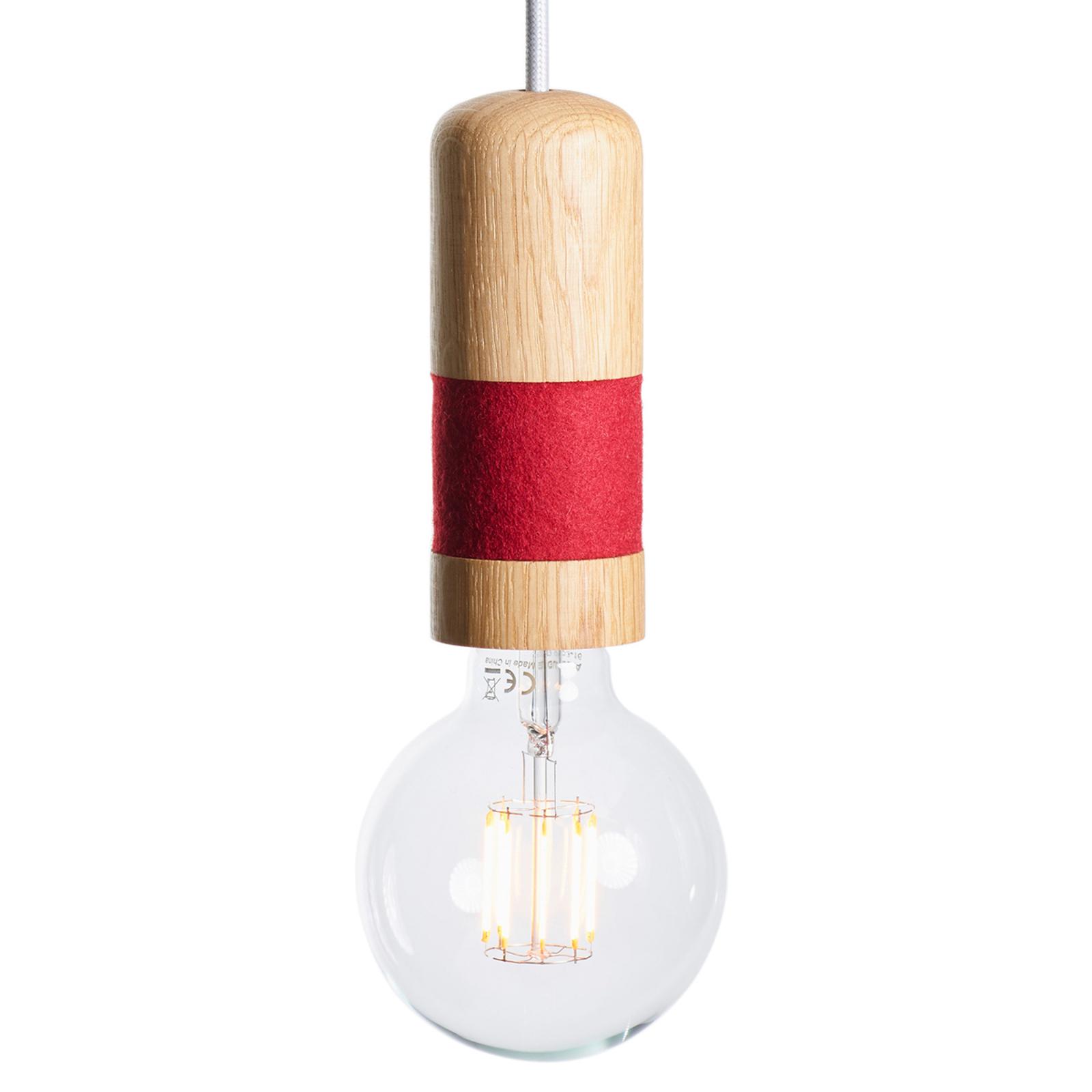 Lampa wisząca Louise, drewno dębowe, filc