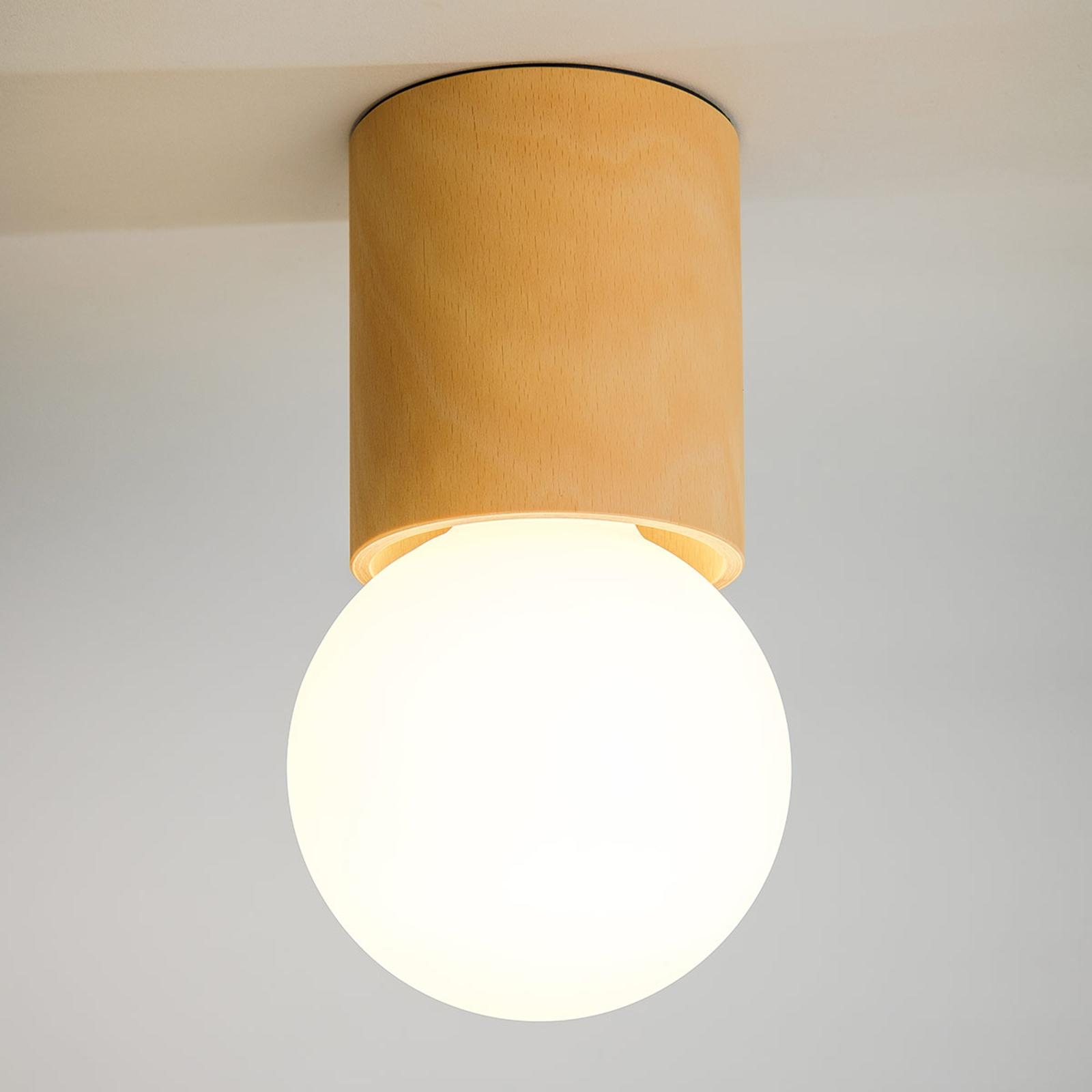 Lampa sufitowa Tondolo, drewno bukowe