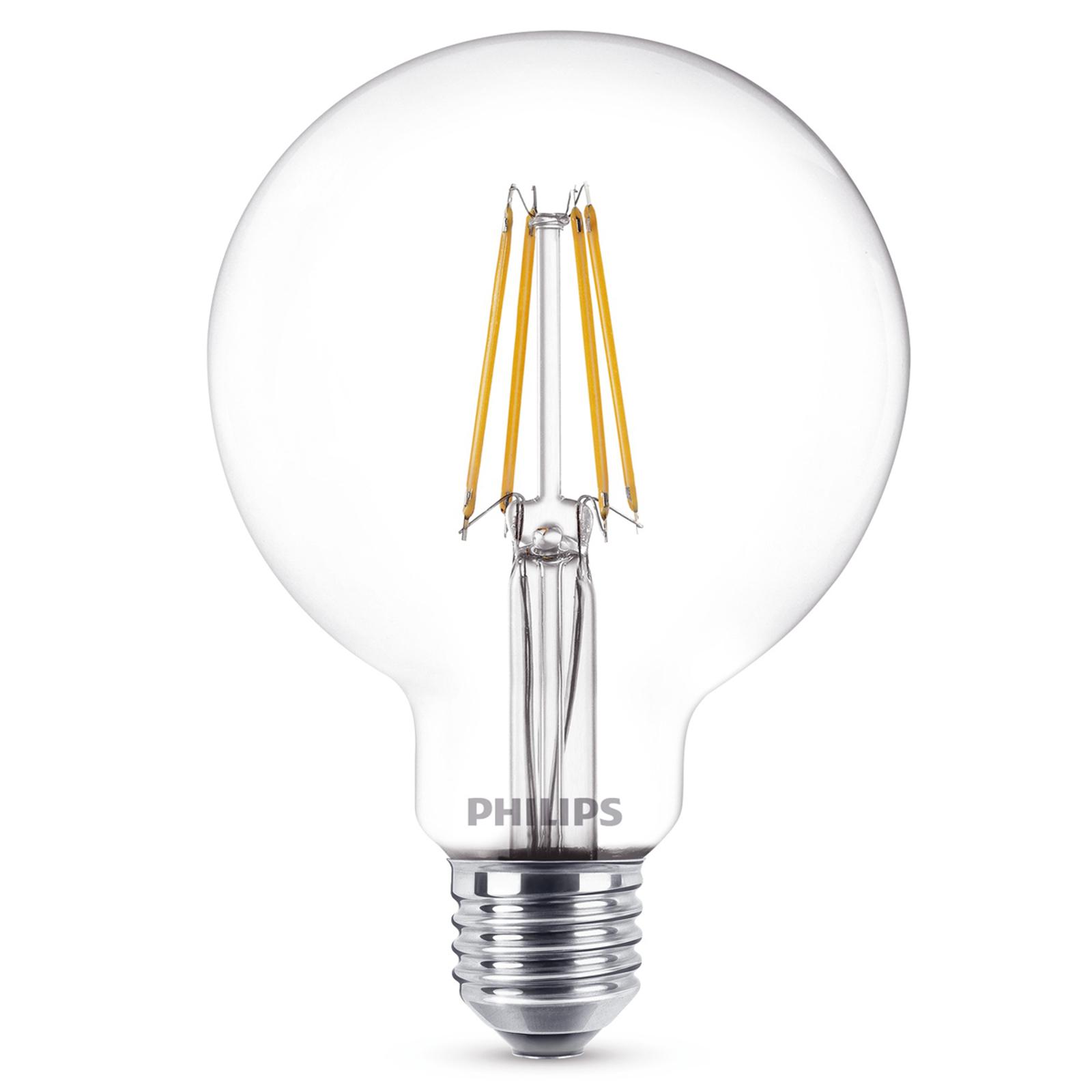 Przezroczysta kulka LED E27, 7 W, 827, G95
