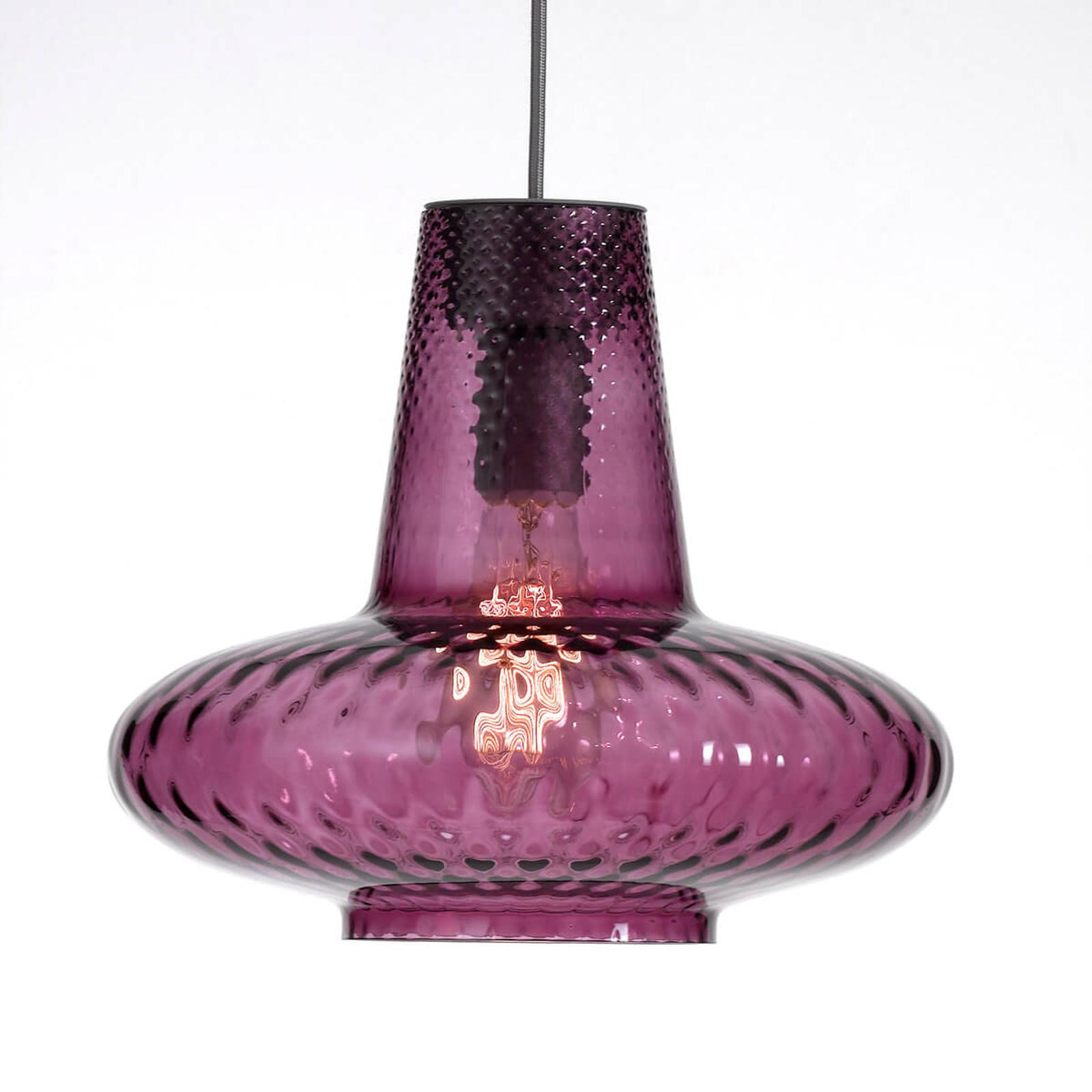 Szklana lampa wisząca Giulietta, ametyst