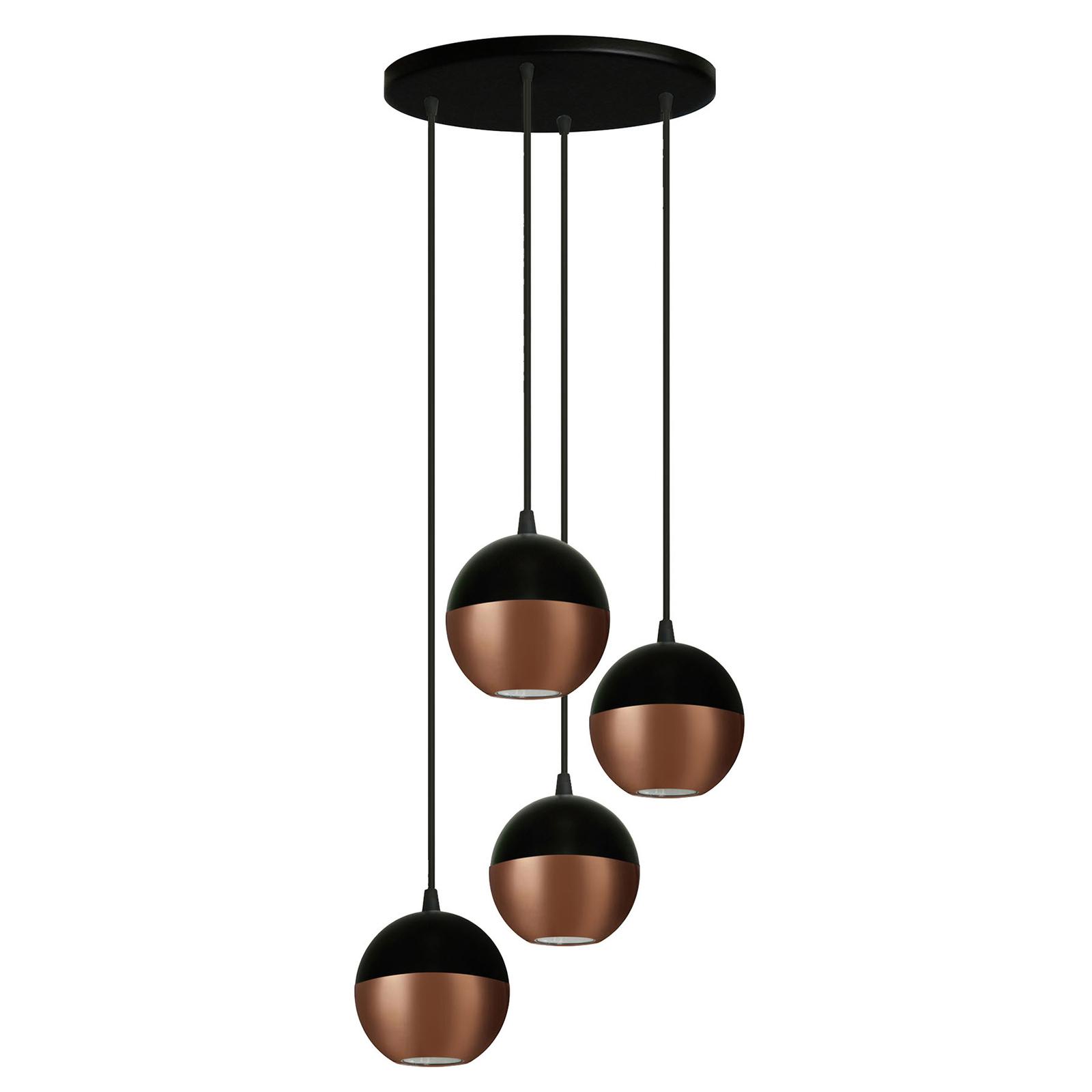 Suspension Midway en noir/cuivré à 4 lampes ronde