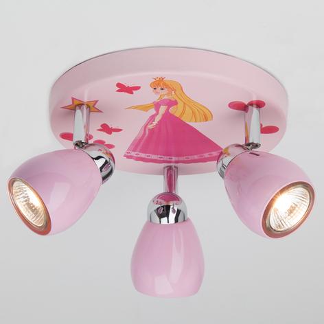 Lámpara LED de techo Princess rosa, 3 brazos