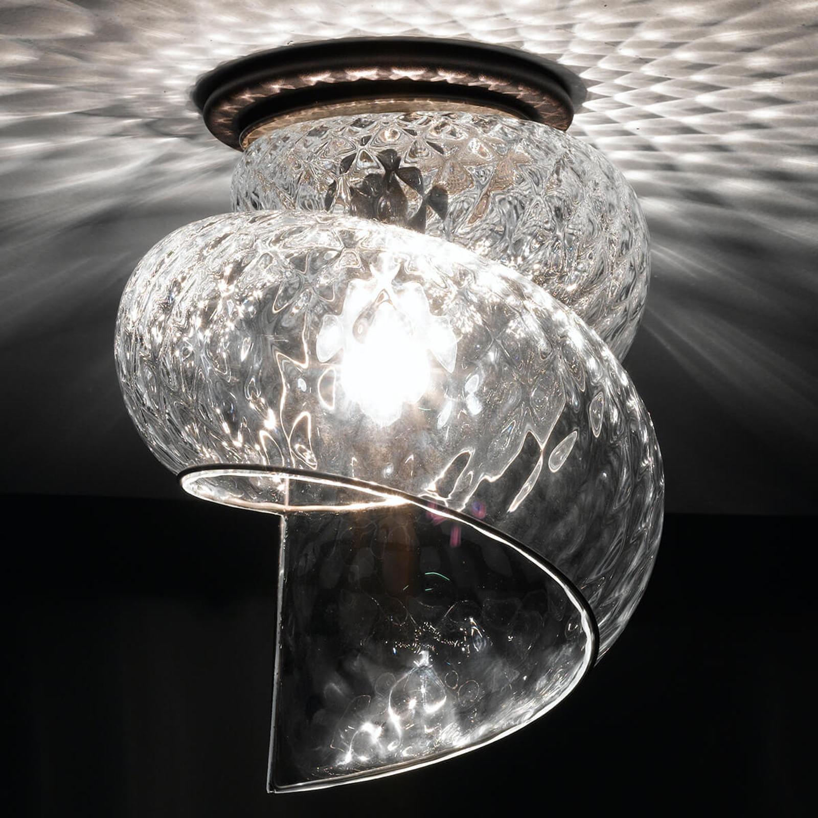 Lampa sufitowa Chiocciola ze szklanym kloszem